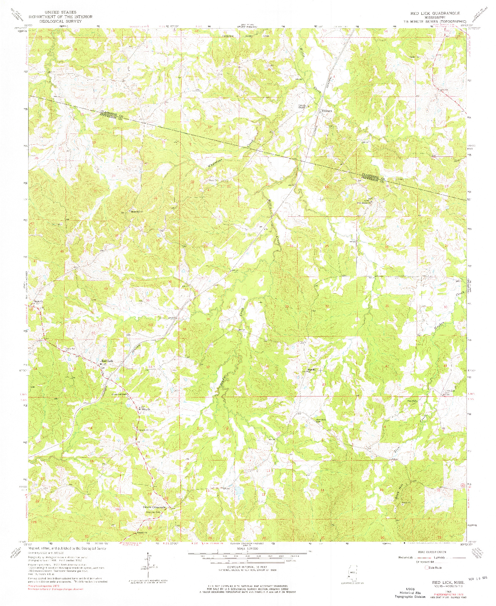 USGS 1:24000-SCALE QUADRANGLE FOR RED LICK, MS 1963