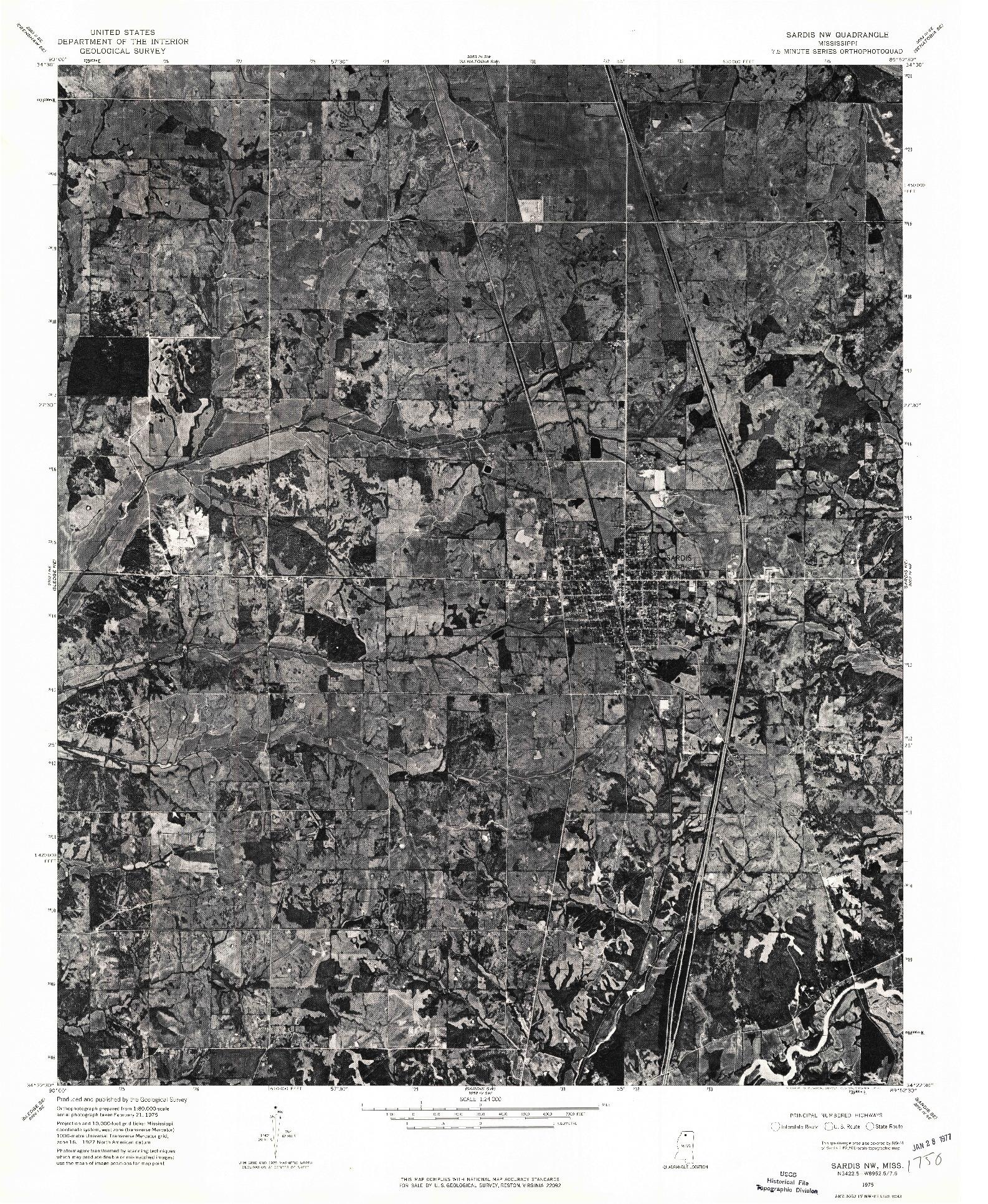 USGS 1:24000-SCALE QUADRANGLE FOR SARDIS NW, MS 1975