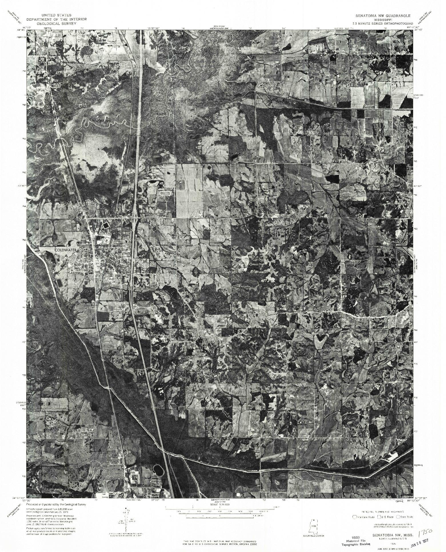 USGS 1:24000-SCALE QUADRANGLE FOR SENATOBIA NW, MS 1975
