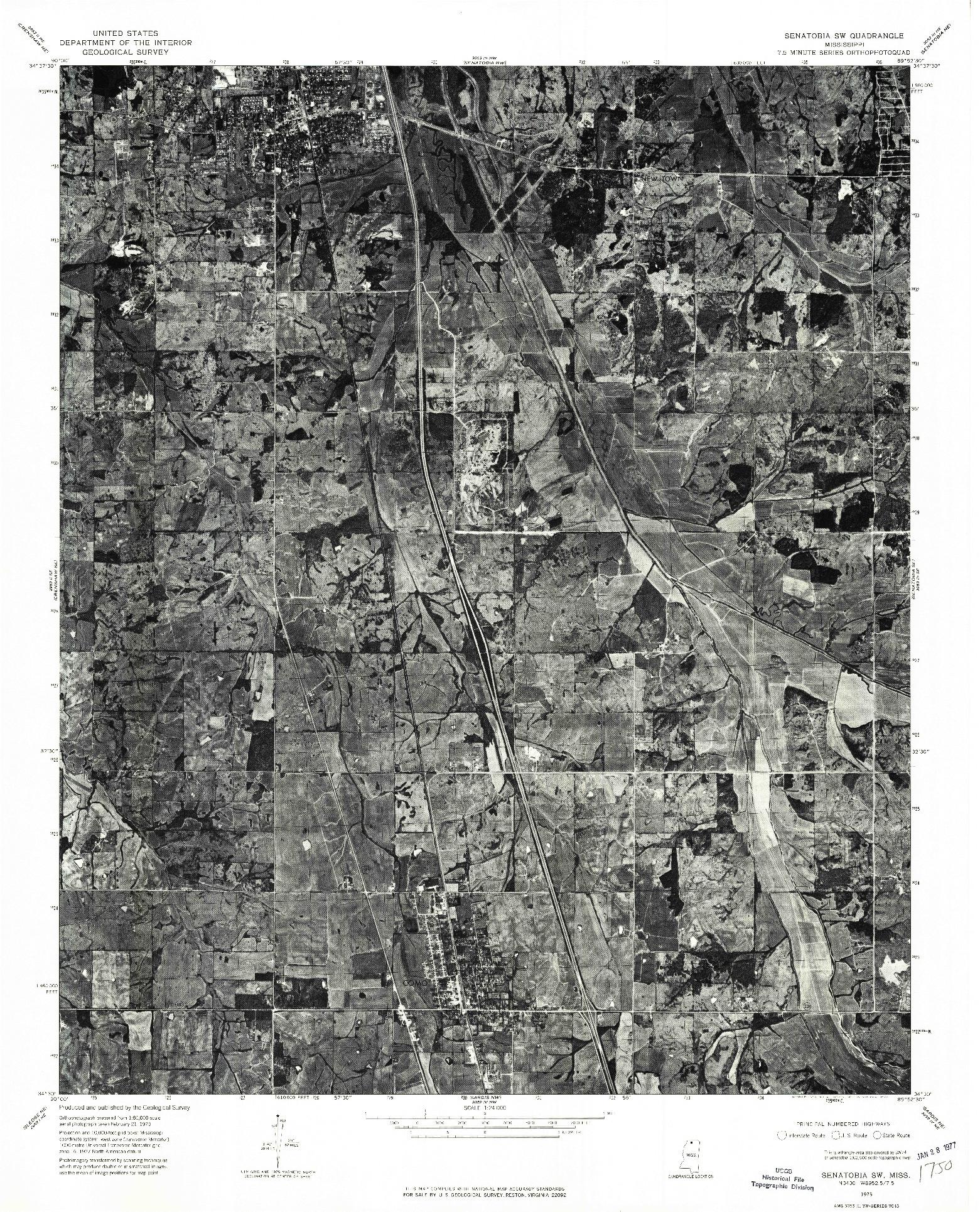 USGS 1:24000-SCALE QUADRANGLE FOR SENATOBIA SW, MS 1975