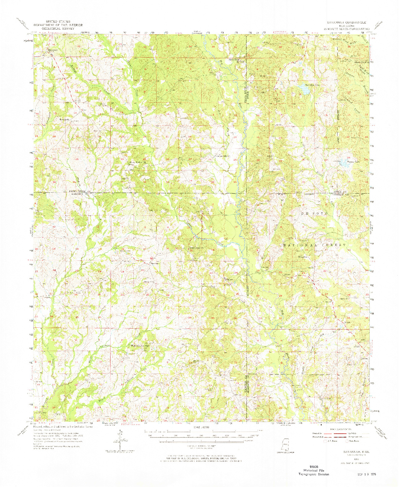 USGS 1:62500-SCALE QUADRANGLE FOR SAVANNAH, MS 1955