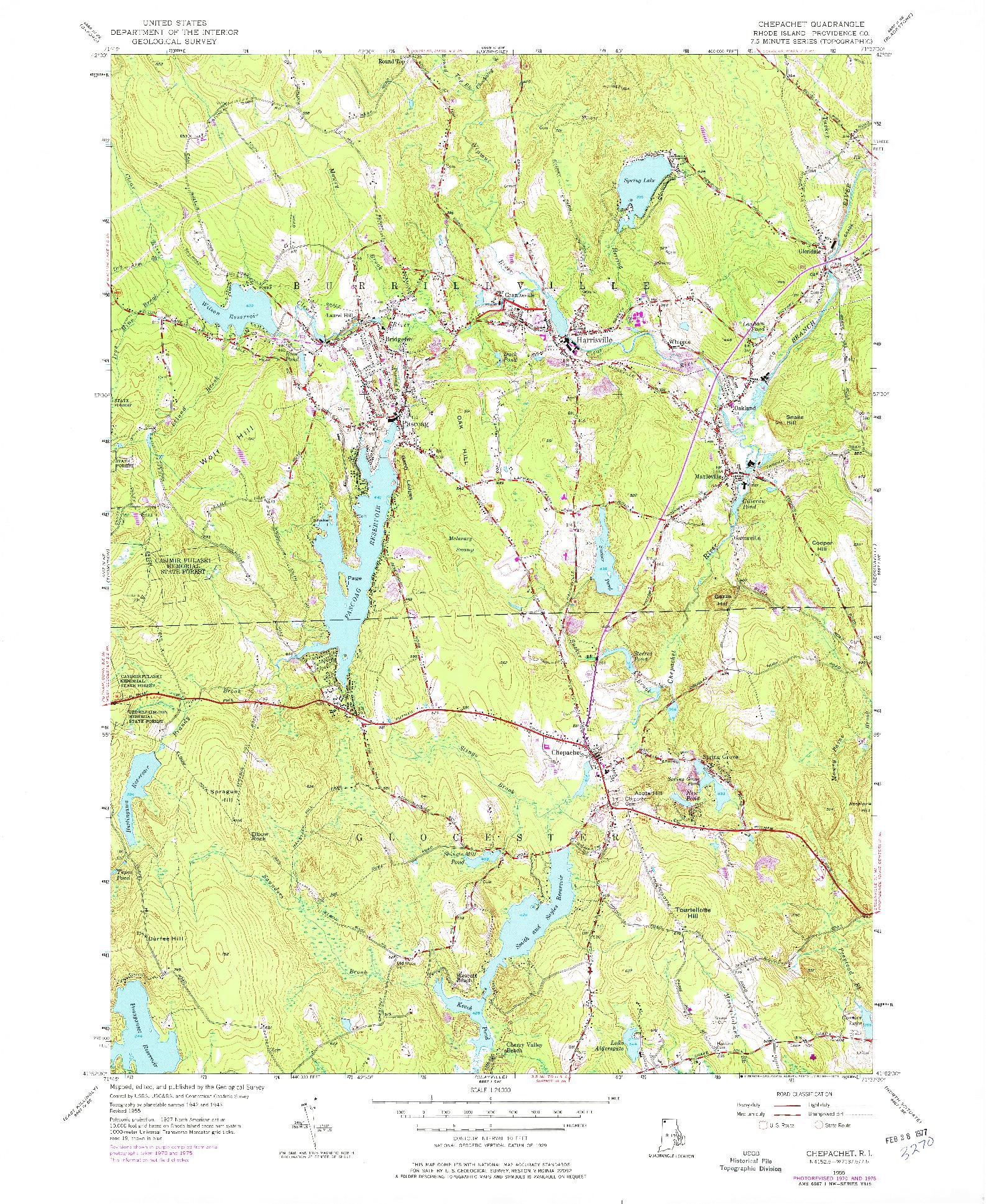 USGS 1:24000-SCALE QUADRANGLE FOR CHEPACHET, RI 1955