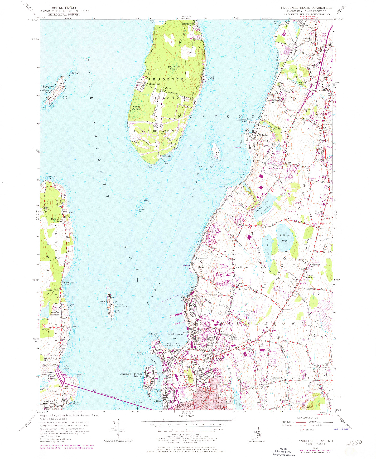 USGS 1:24000-SCALE QUADRANGLE FOR PRUDENCE ISLAND, RI 1955