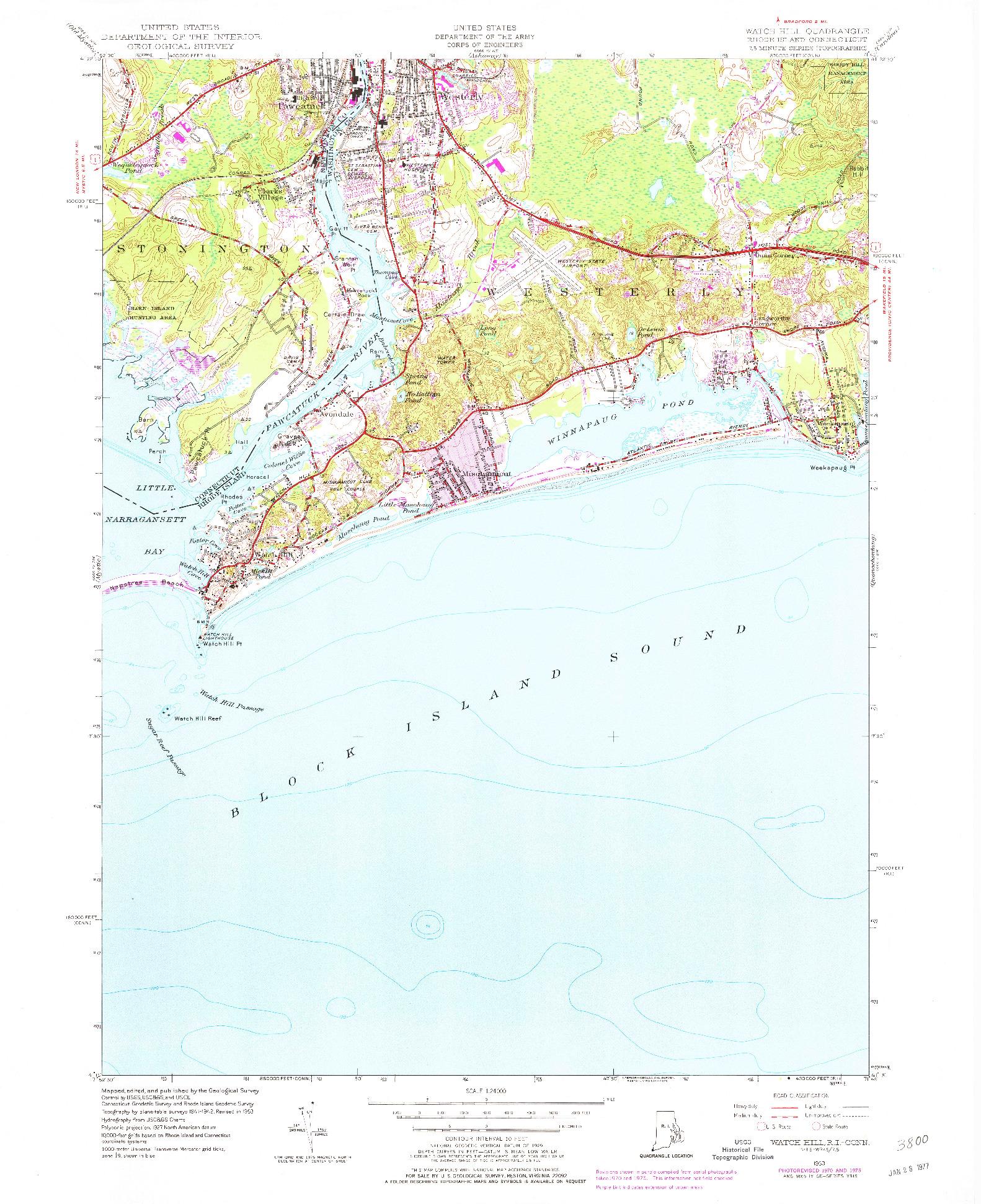 USGS 1:24000-SCALE QUADRANGLE FOR WATCH HILL, RI 1953