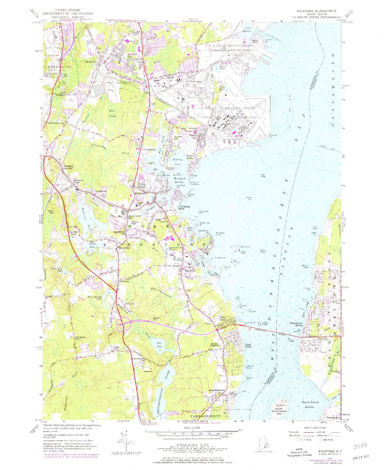 USGS 1:24000-SCALE QUADRANGLE FOR WICKFORD, RI 1957