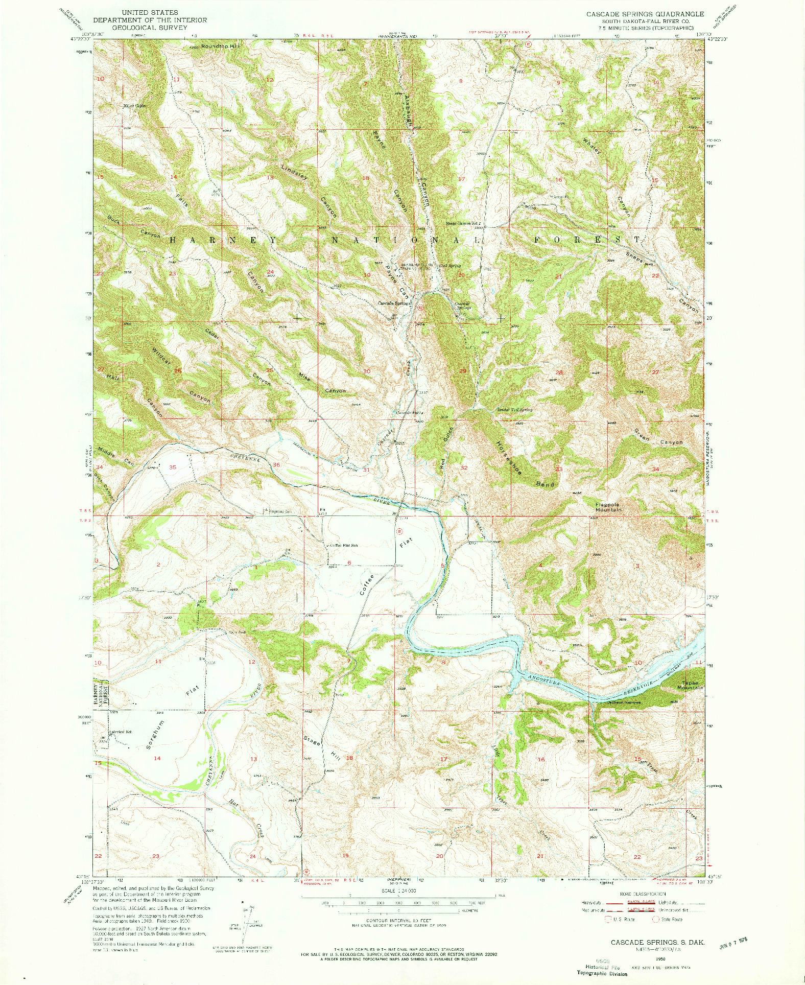 USGS 1:24000-SCALE QUADRANGLE FOR CASCADE SPRINGS, SD 1950