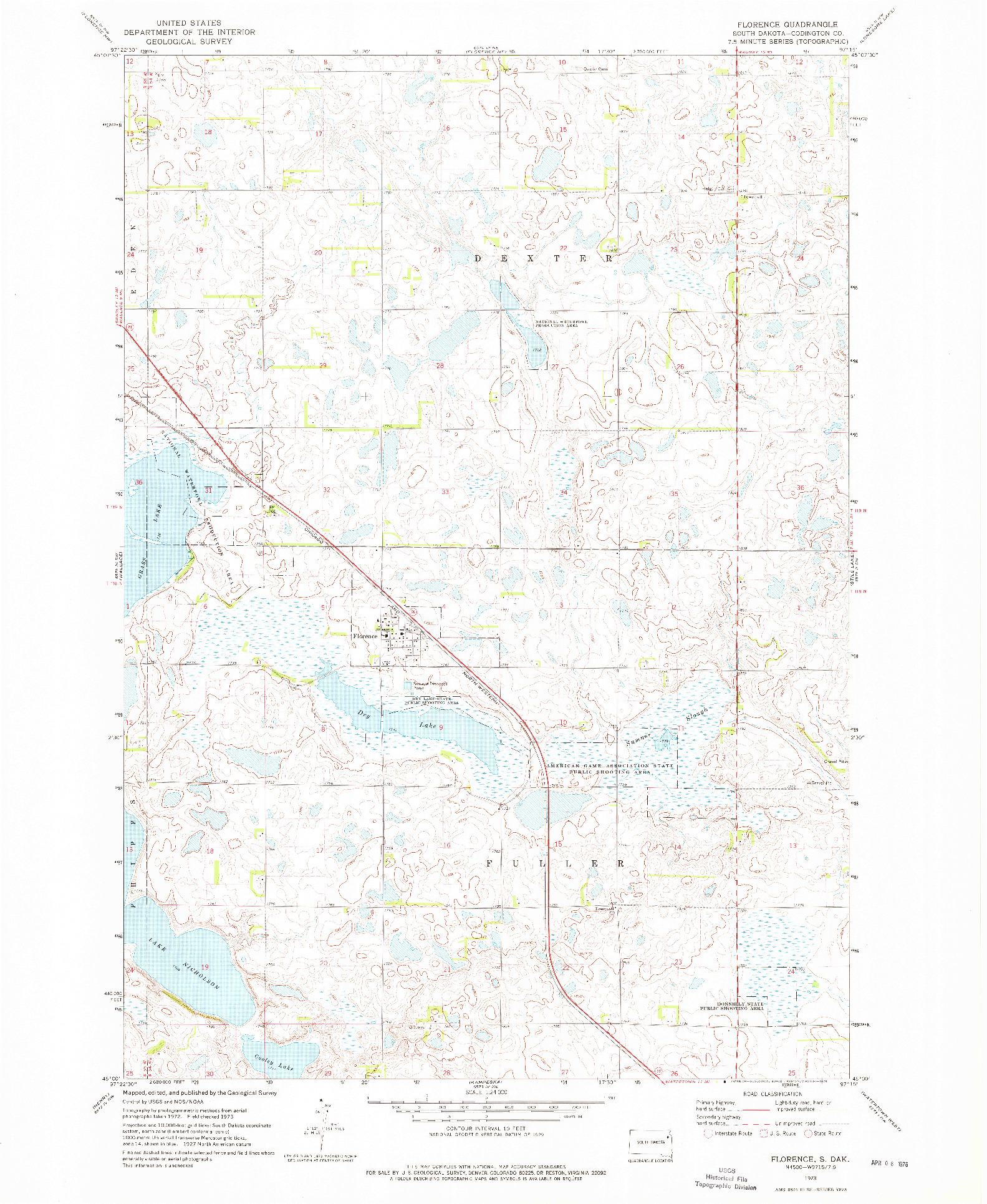 USGS 1:24000-SCALE QUADRANGLE FOR FLORENCE, SD 1973