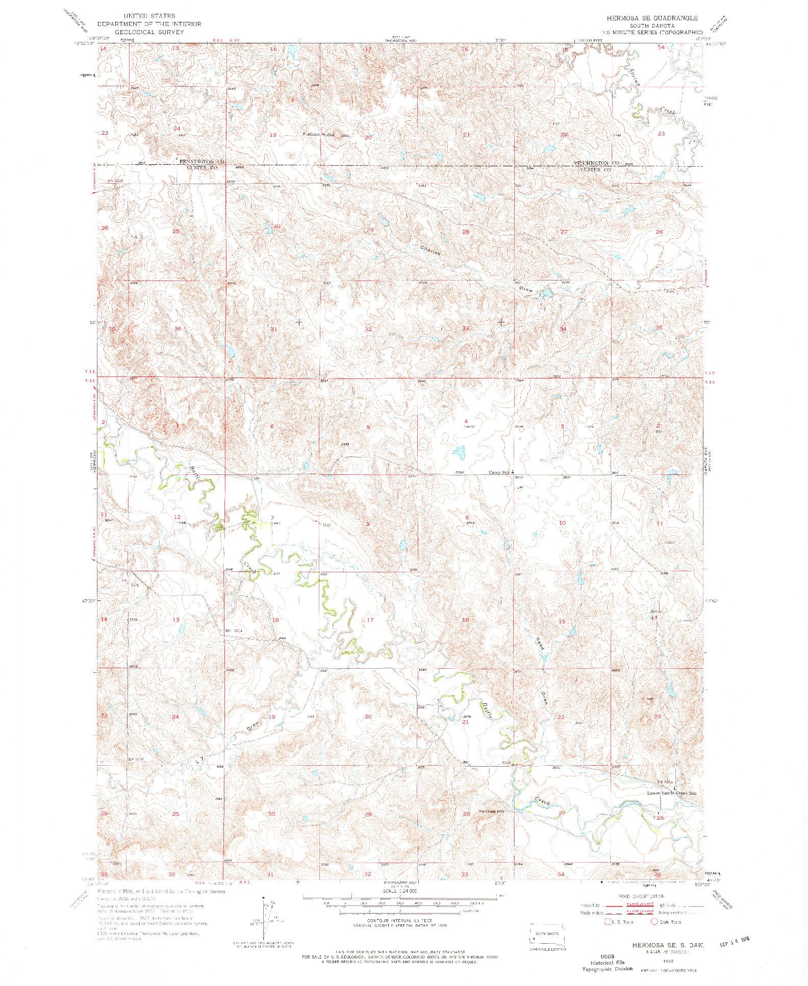 USGS 1:24000-SCALE QUADRANGLE FOR HERMOSA SE, SD 1953