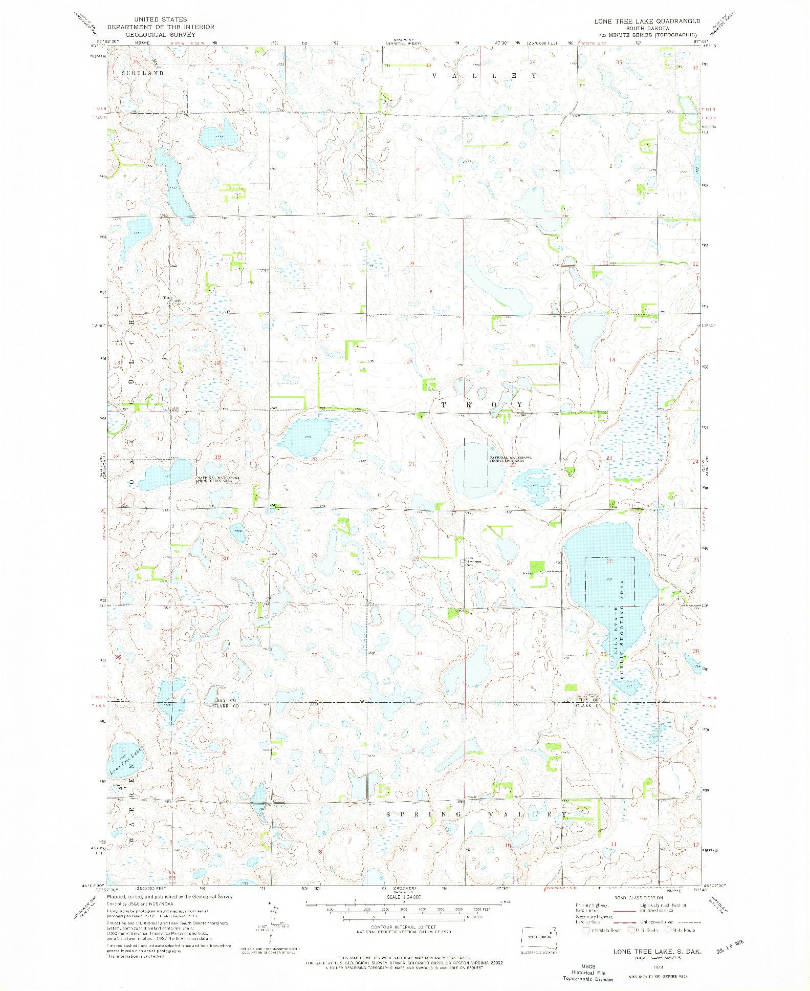 USGS 1:24000-SCALE QUADRANGLE FOR LONE TREE LAKE, SD 1973