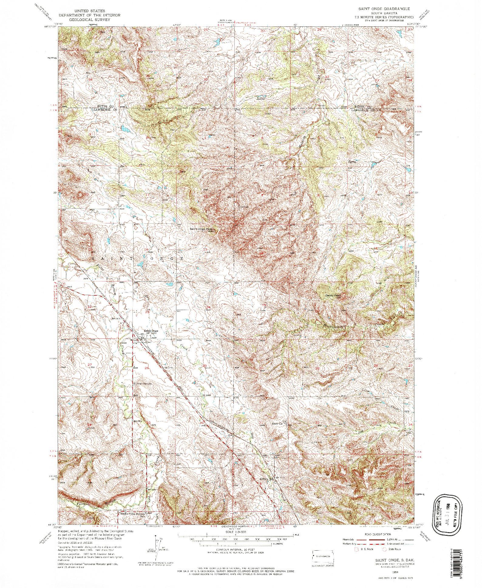 USGS 1:24000-SCALE QUADRANGLE FOR SAINT ONGE, SD 1954