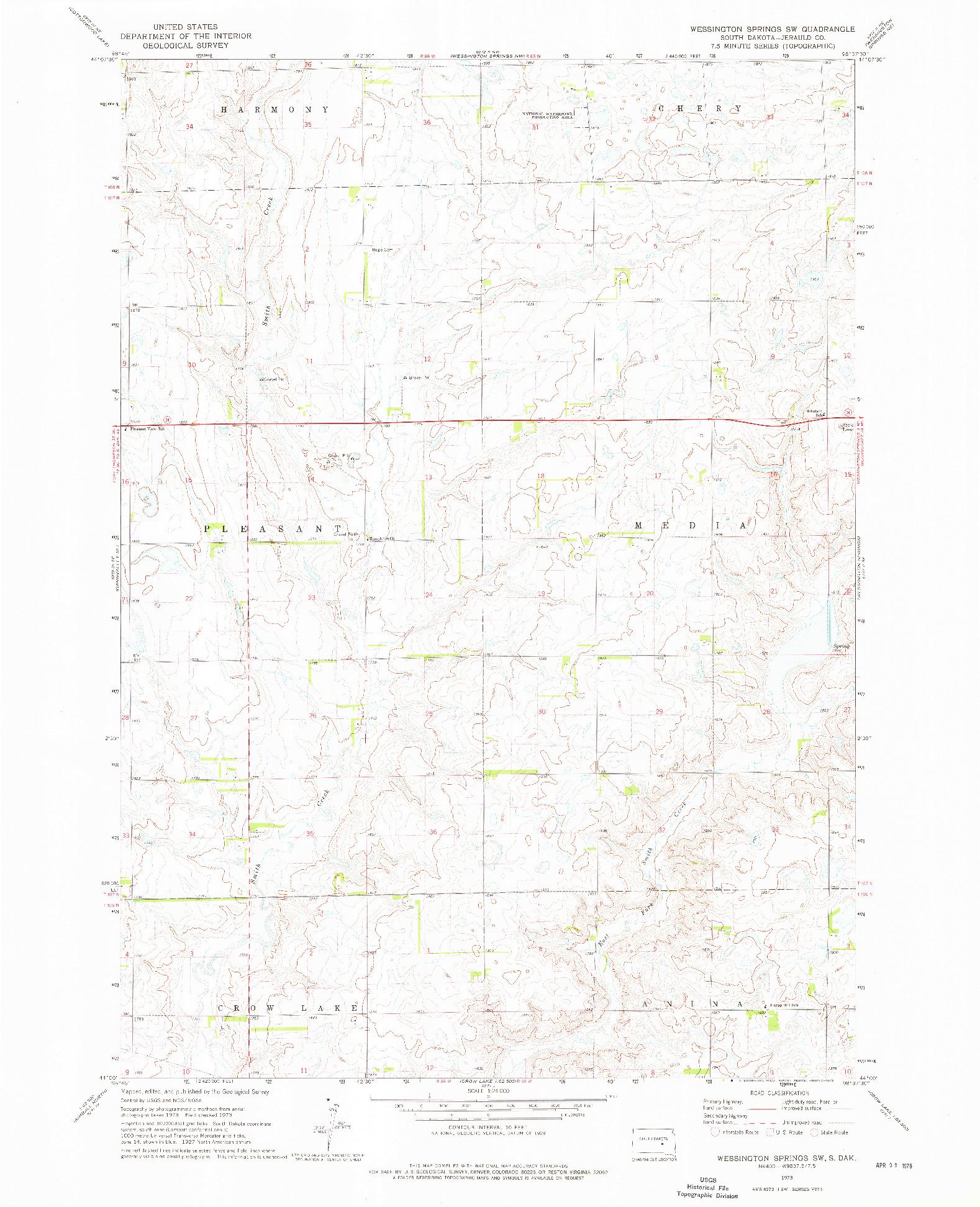 USGS 1:24000-SCALE QUADRANGLE FOR WESSINGTON SPRINGS SW, SD 1973