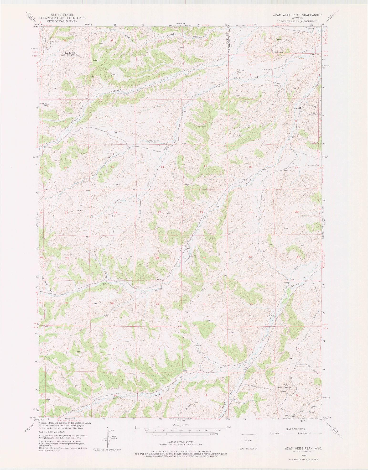 USGS 1:24000-SCALE QUADRANGLE FOR ADAM WEISS PEAK, WY 1956