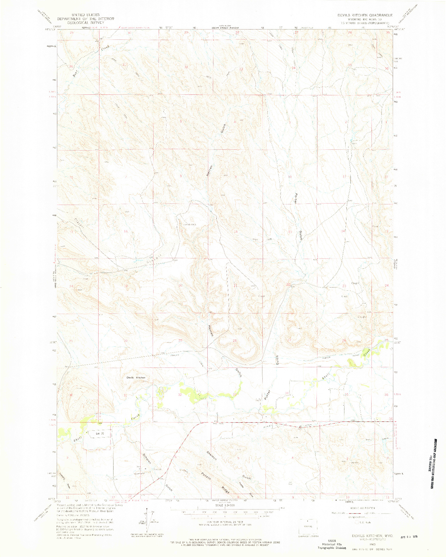 USGS 1:24000-SCALE QUADRANGLE FOR DEVILS KITCHEN, WY 1960