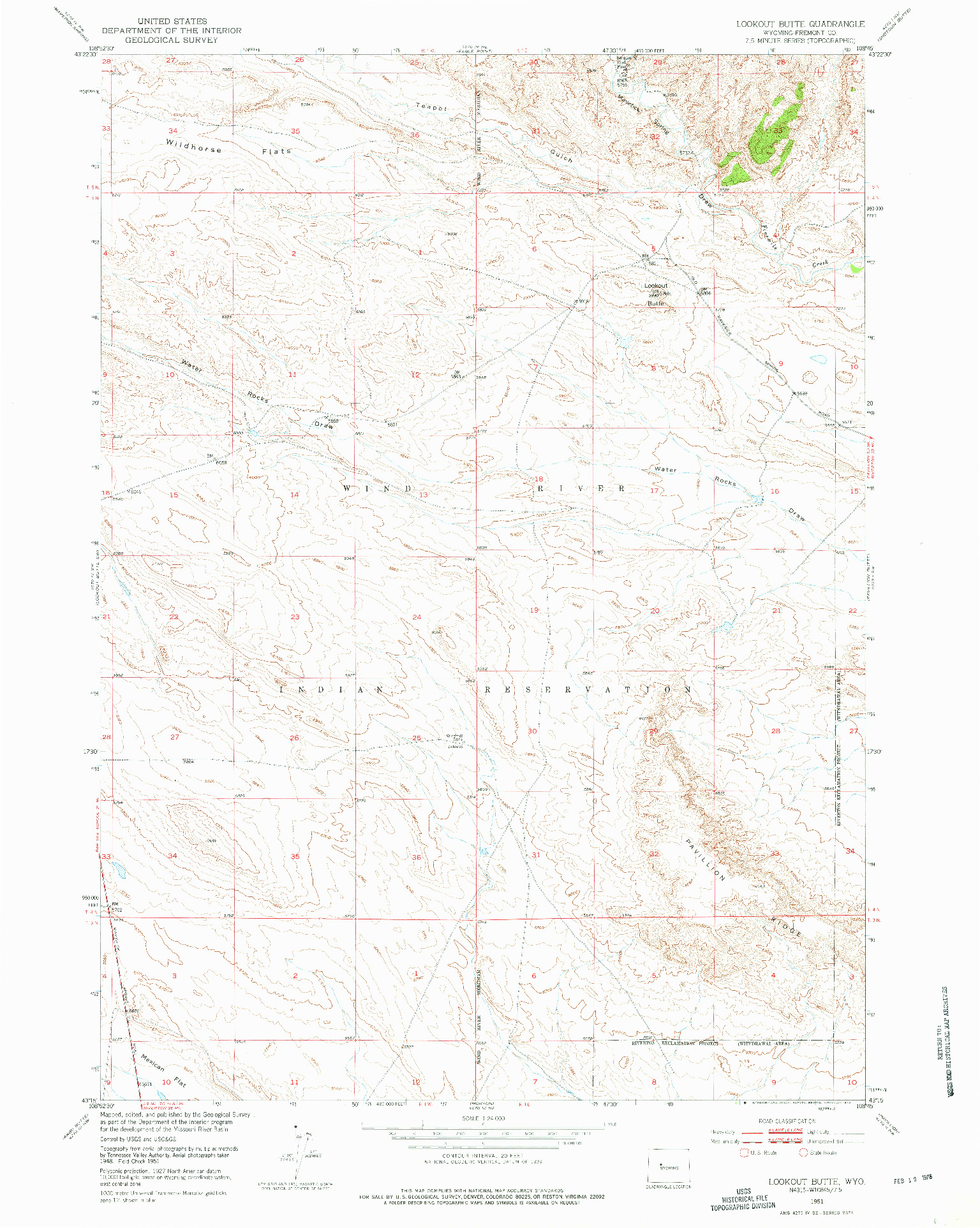USGS 1:24000-SCALE QUADRANGLE FOR LOOKOUT BUTTE, WY 1951