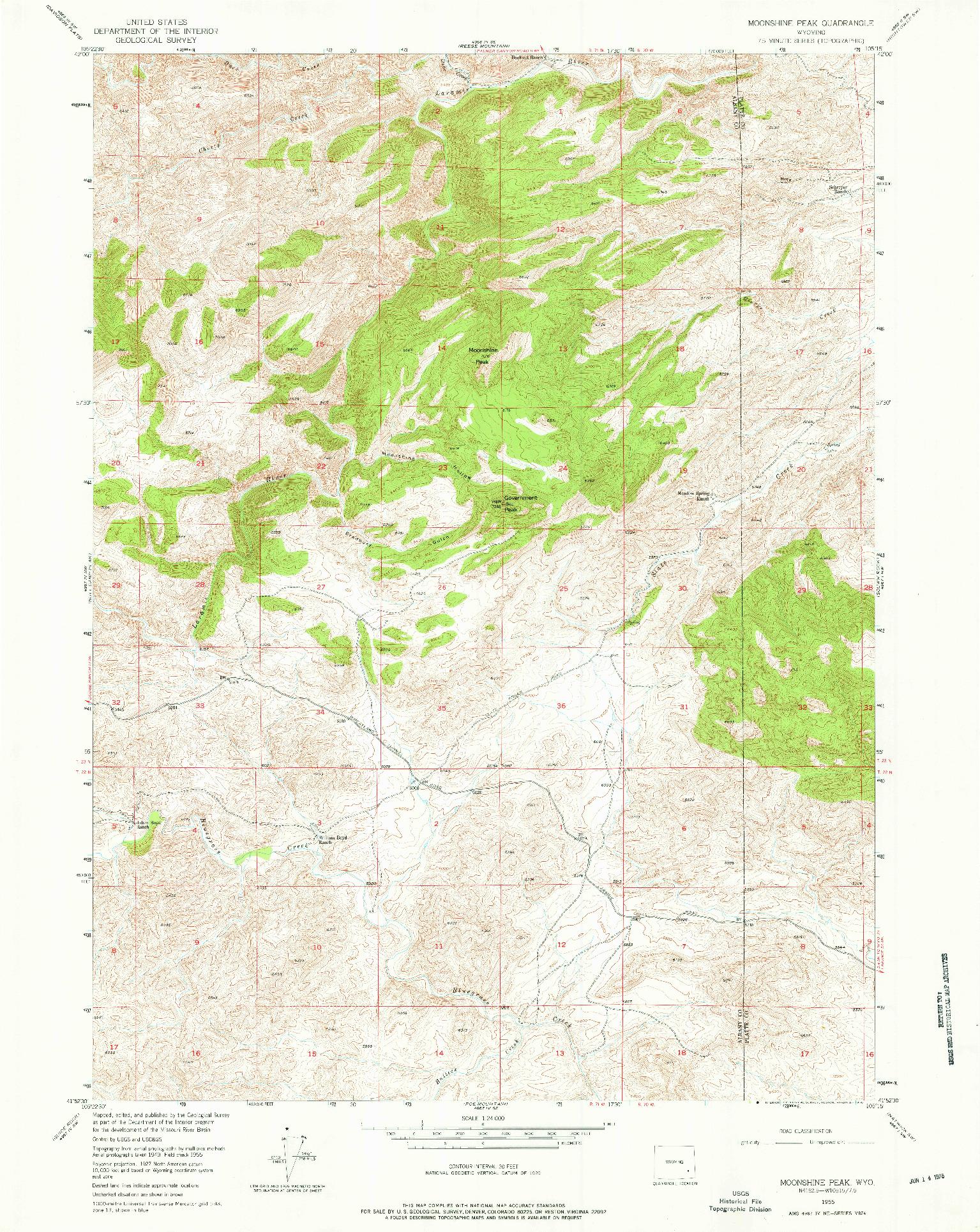 USGS 1:24000-SCALE QUADRANGLE FOR MOONSHINE PEAK, WY 1955