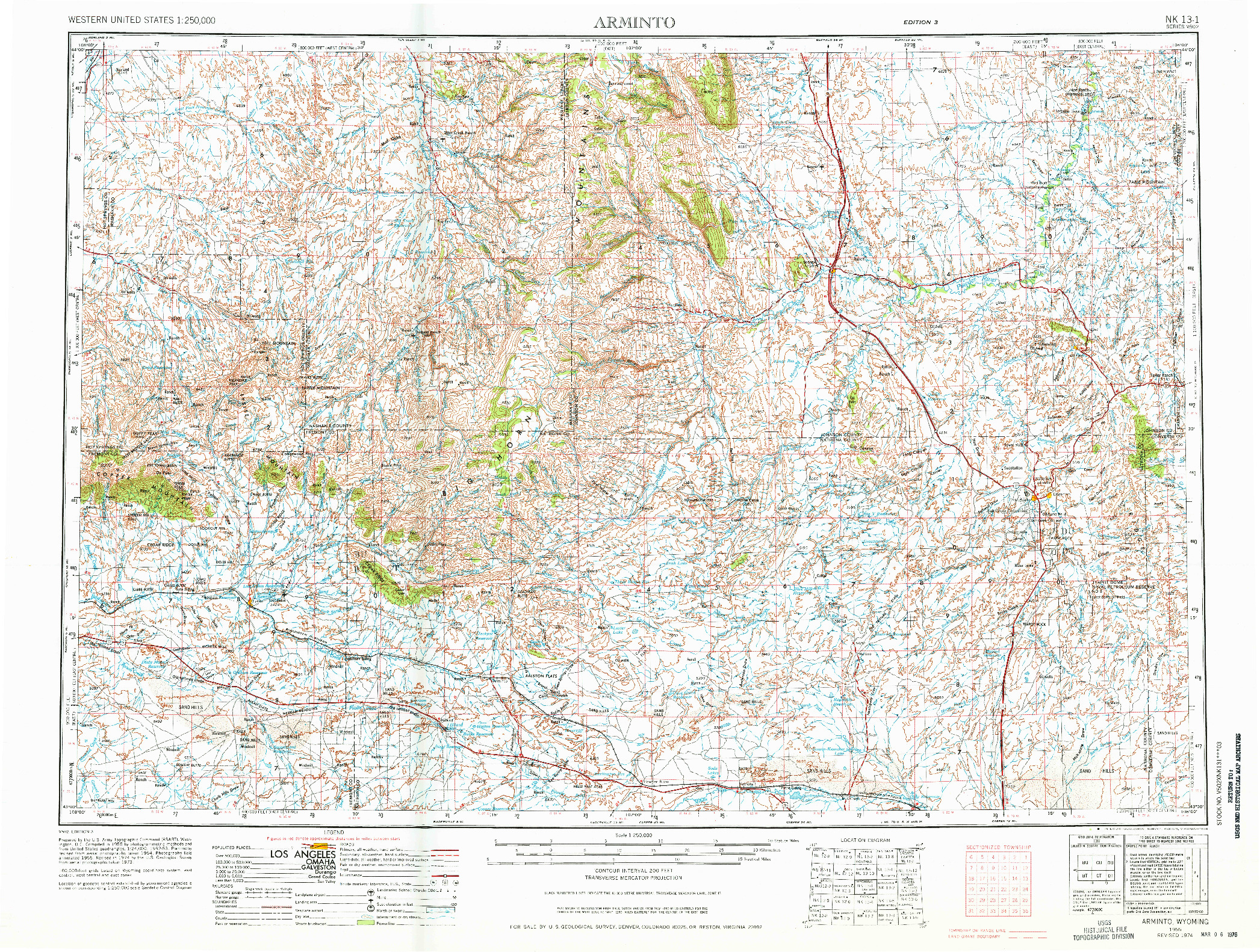 USGS 1:250000-SCALE QUADRANGLE FOR ARMINTO, WY 1955