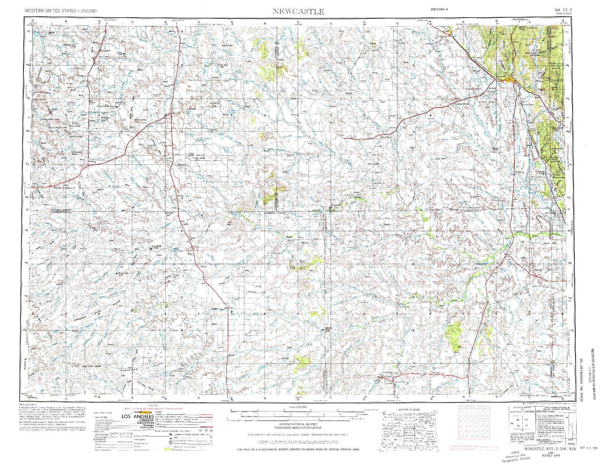 USGS 1:250000-SCALE QUADRANGLE FOR NEWCASTLE, WY 1955