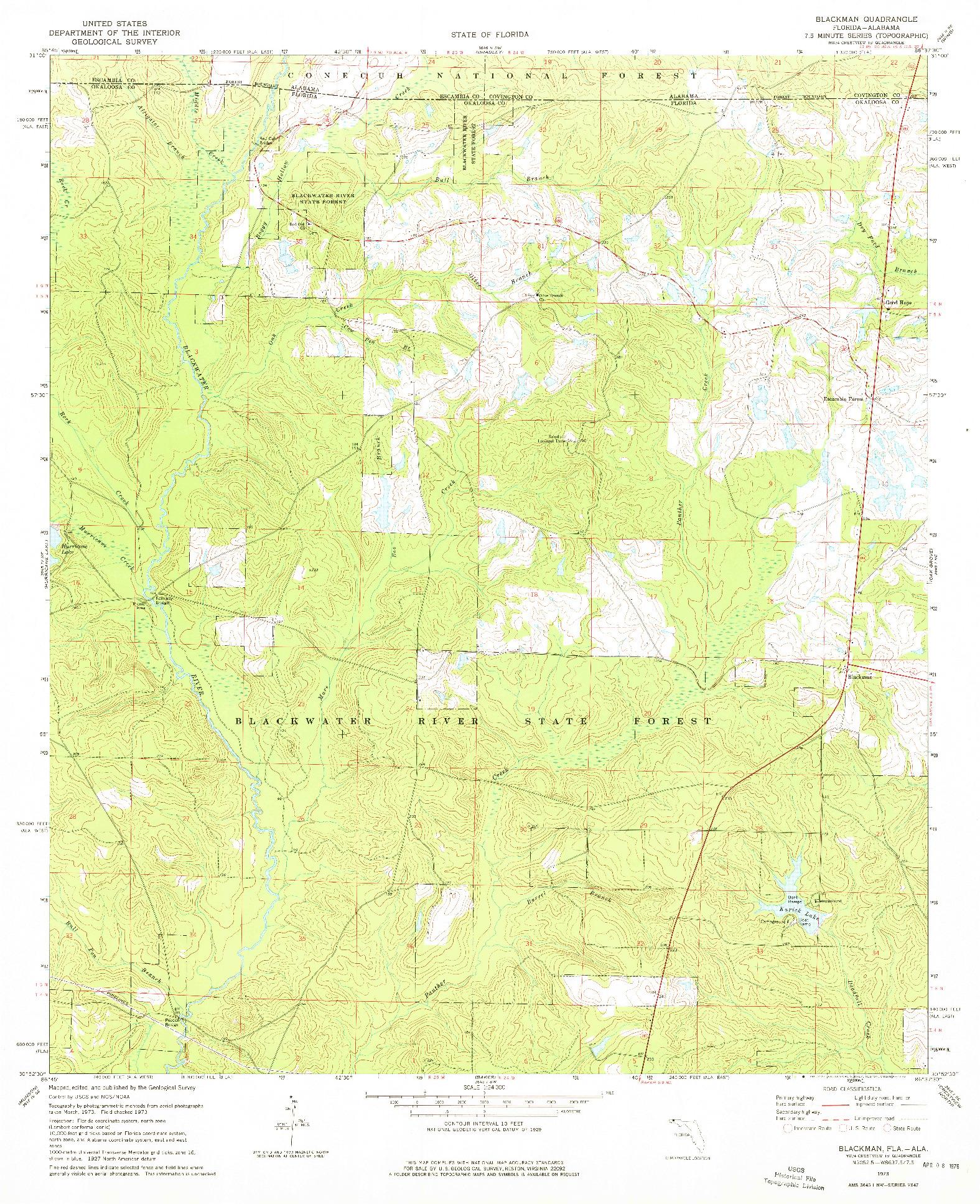 USGS 1:24000-SCALE QUADRANGLE FOR BLACKMAN, FL 1973