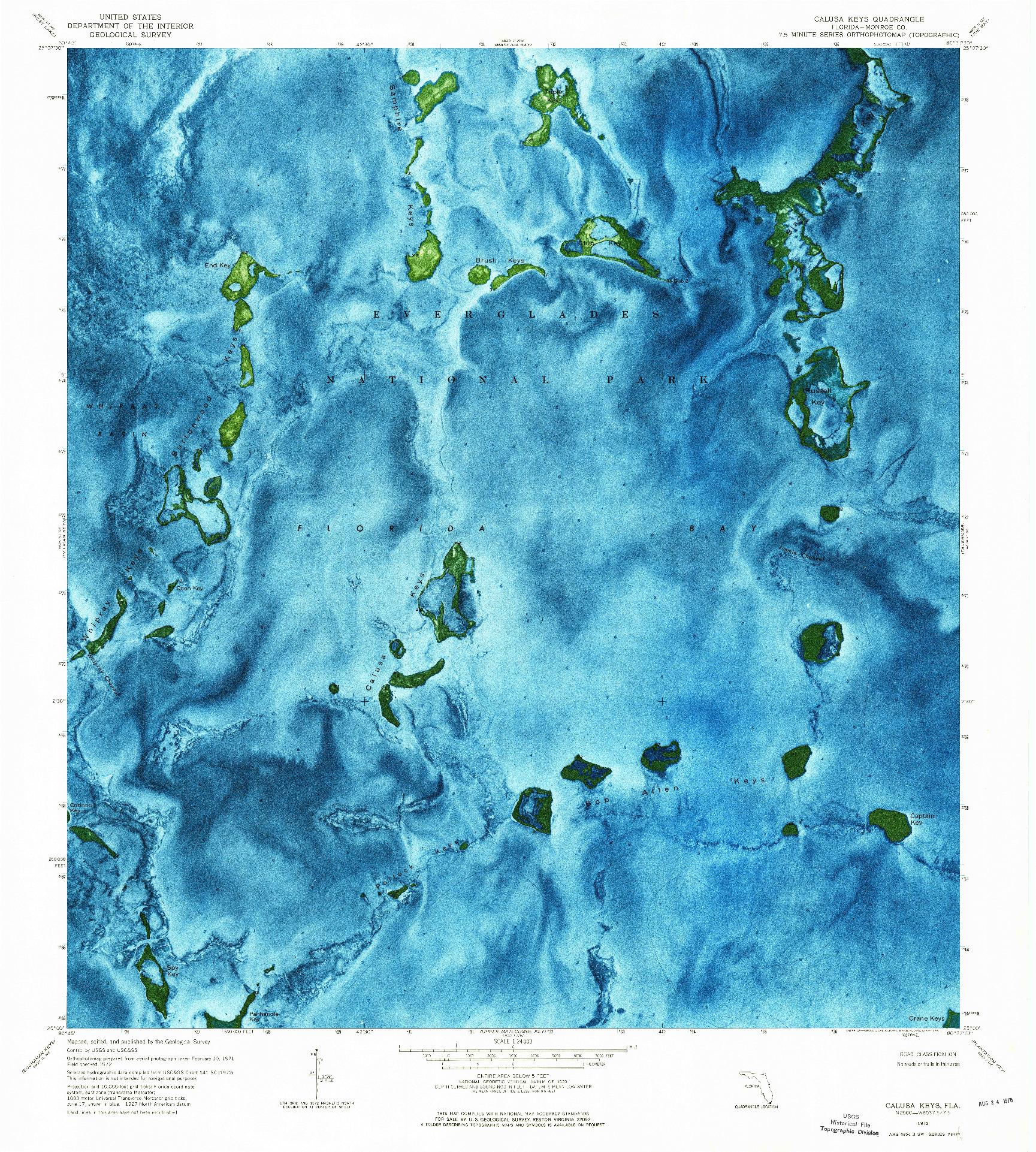 USGS 1:24000-SCALE QUADRANGLE FOR CALUSA KEYS, FL 1972