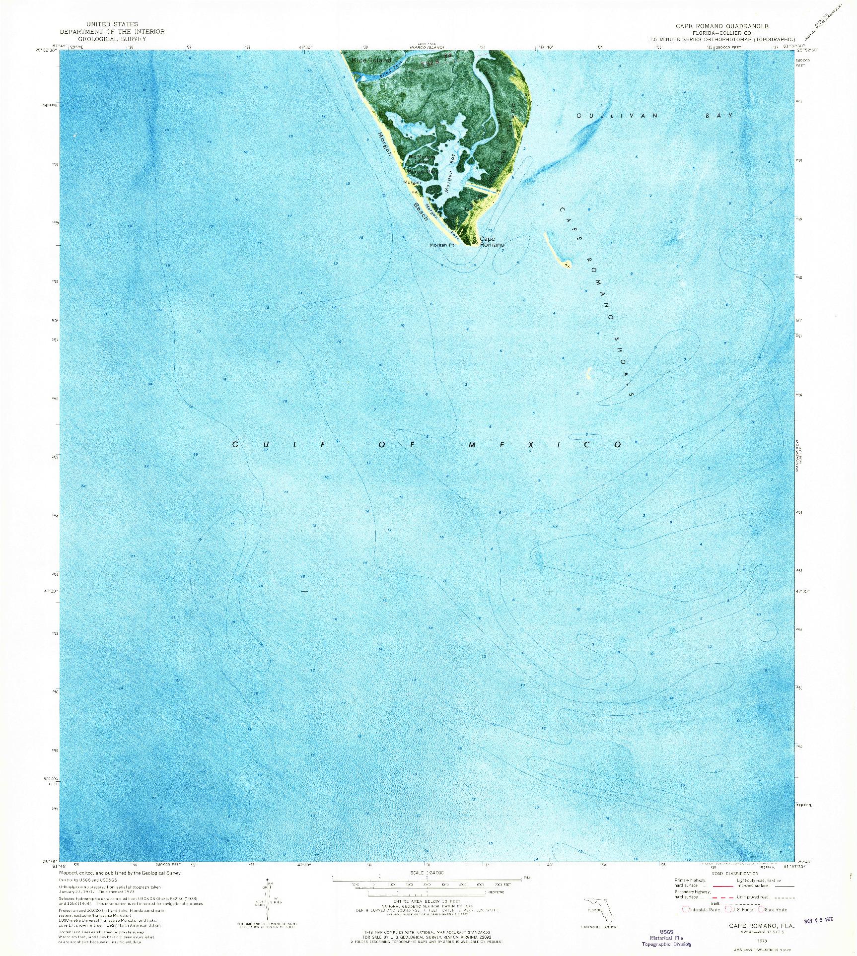 USGS 1:24000-SCALE QUADRANGLE FOR CAPE ROMANO, FL 1973