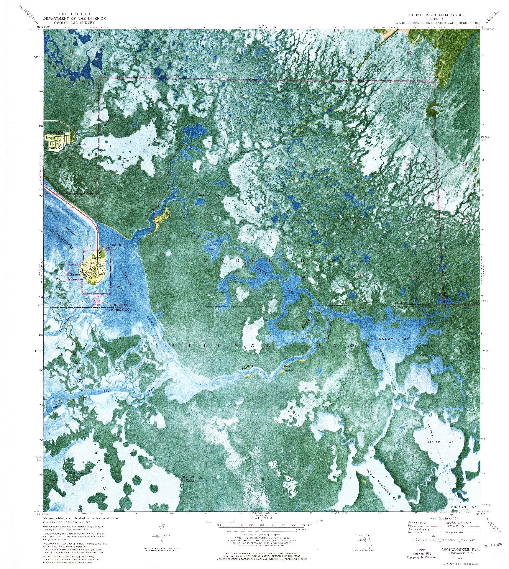USGS 1:24000-SCALE QUADRANGLE FOR CHOKOLOSKEE, FL 1974