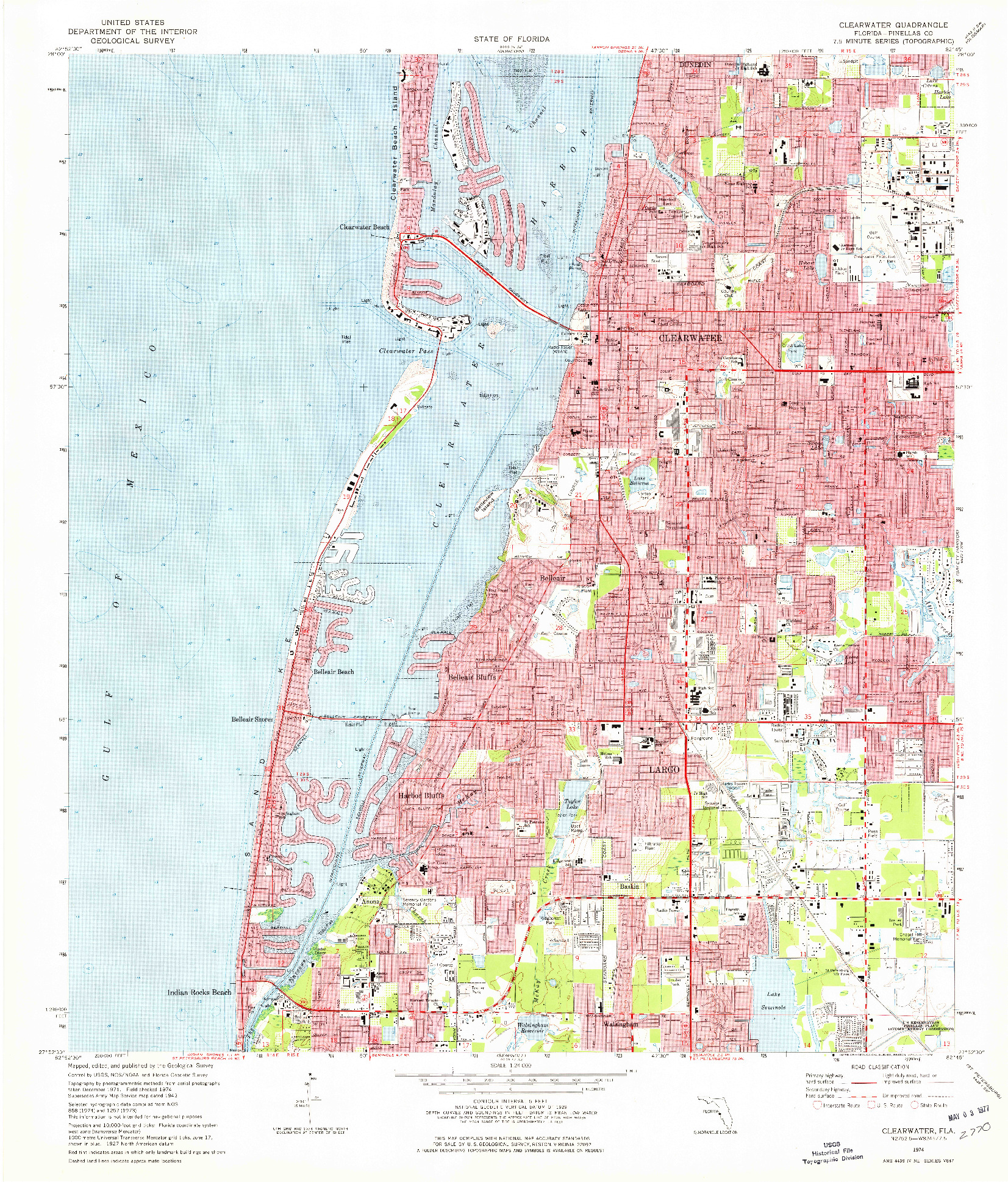 USGS 1:24000-SCALE QUADRANGLE FOR CLEARWATER, FL 1974