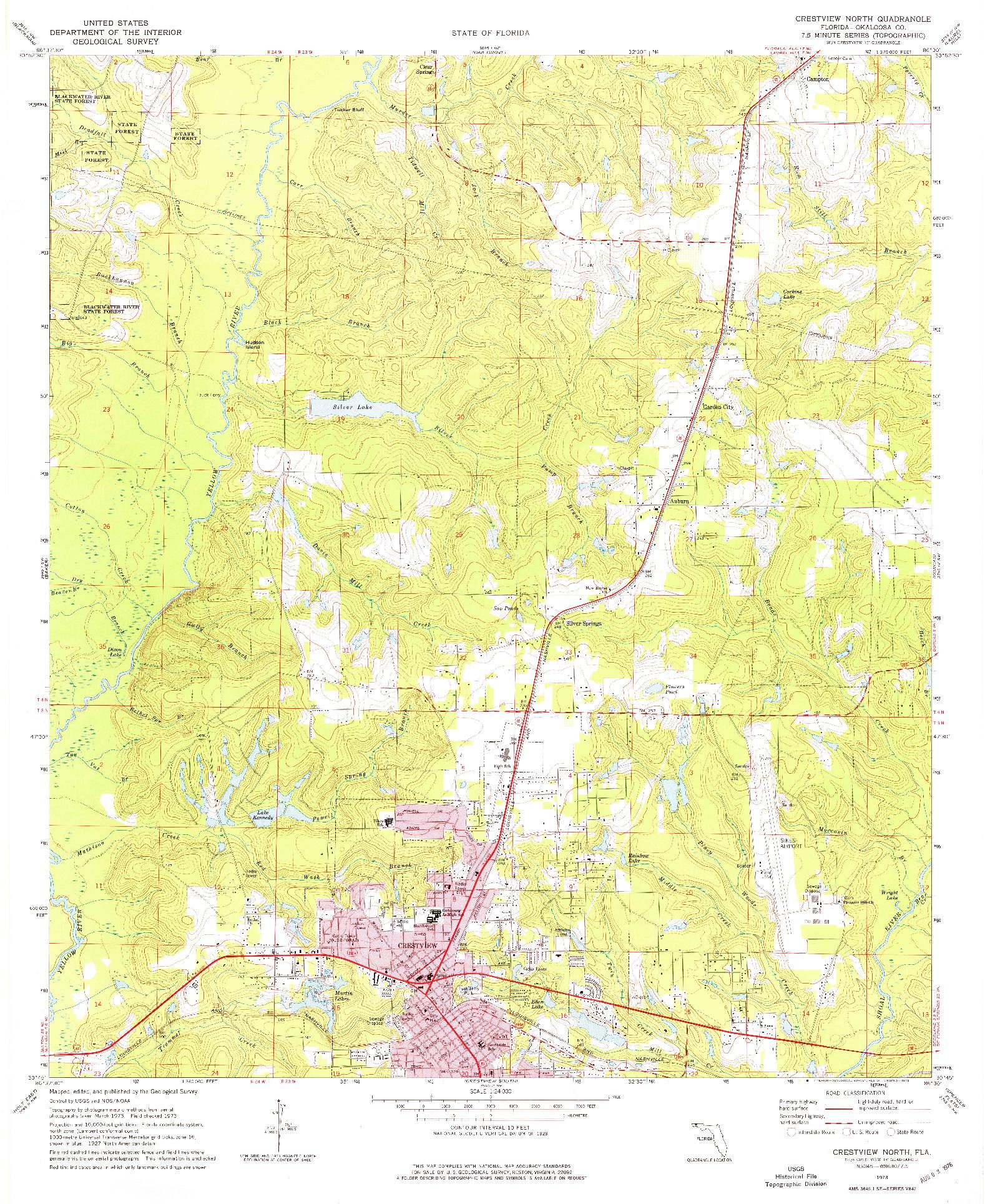USGS 1:24000-SCALE QUADRANGLE FOR CRESTVIEW NORTH, FL 1973
