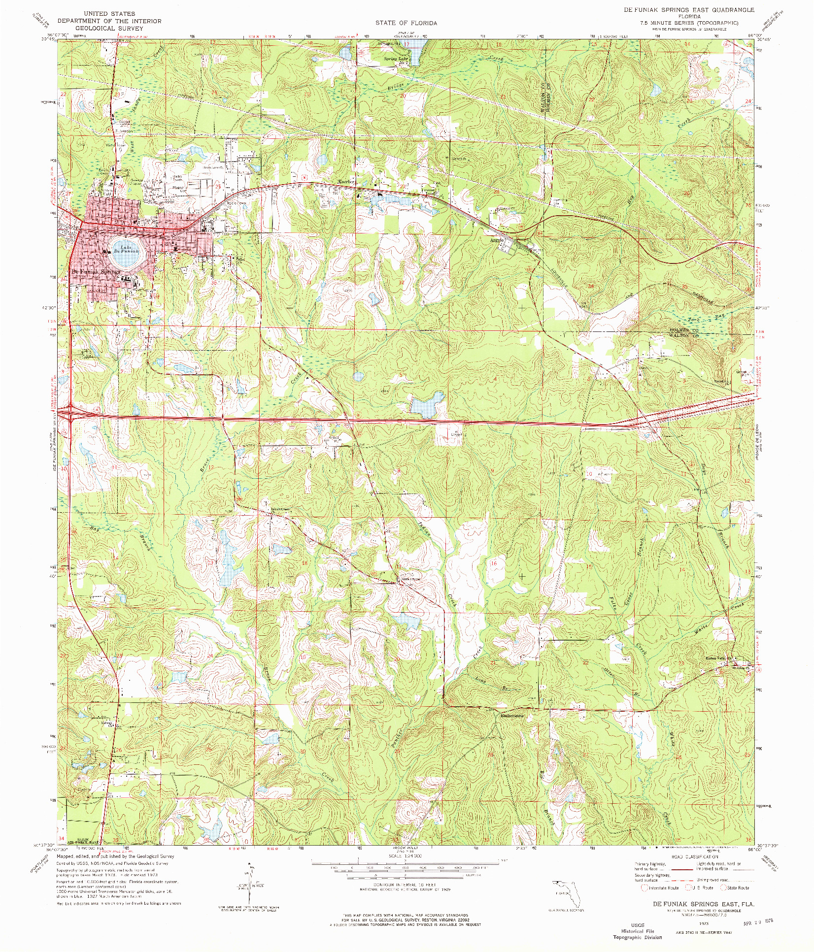 USGS 1:24000-SCALE QUADRANGLE FOR DE FUNIAK SPRINGS EAST, FL 1973