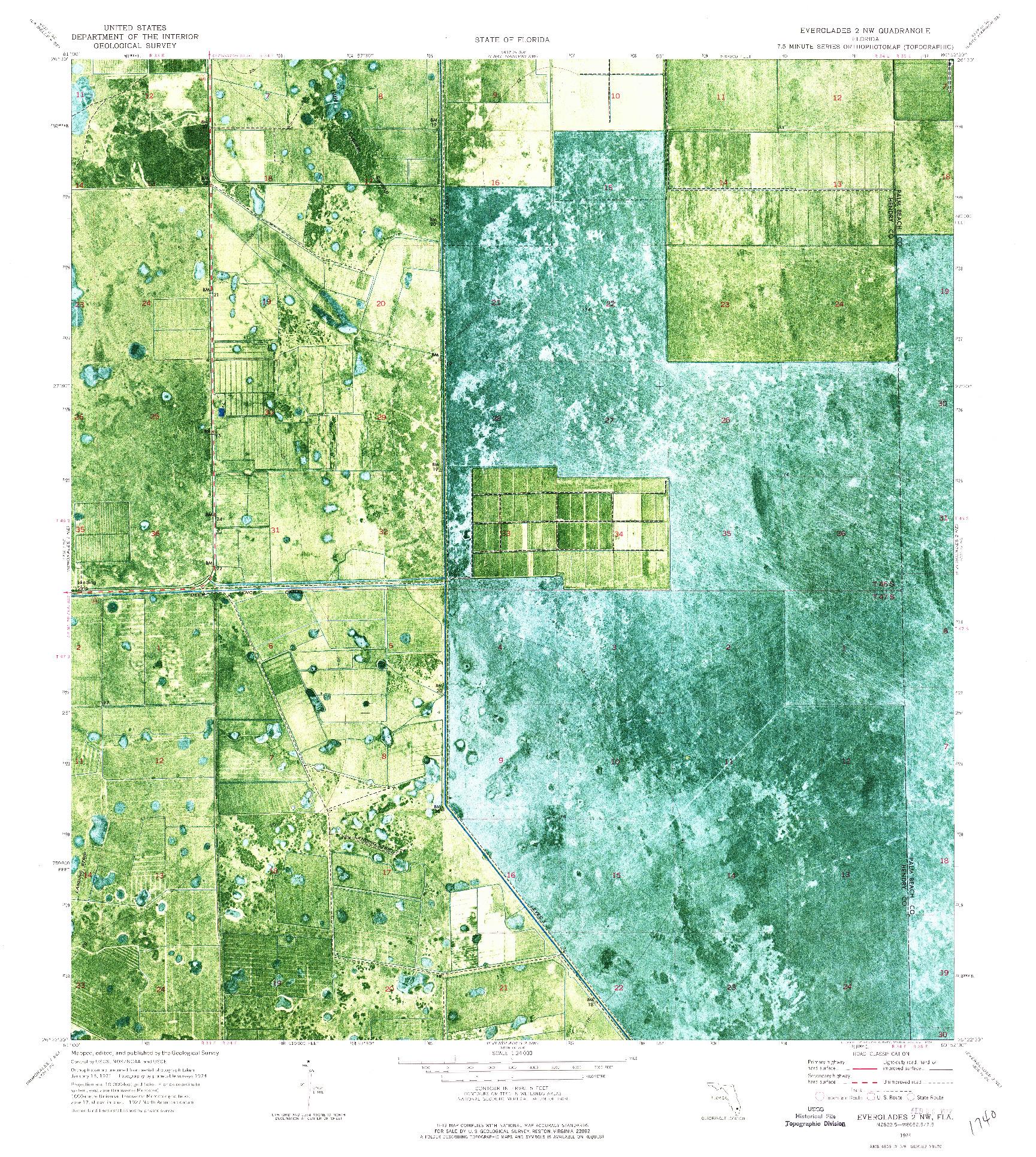 USGS 1:24000-SCALE QUADRANGLE FOR EVERGLADES 2 NW, FL 1974