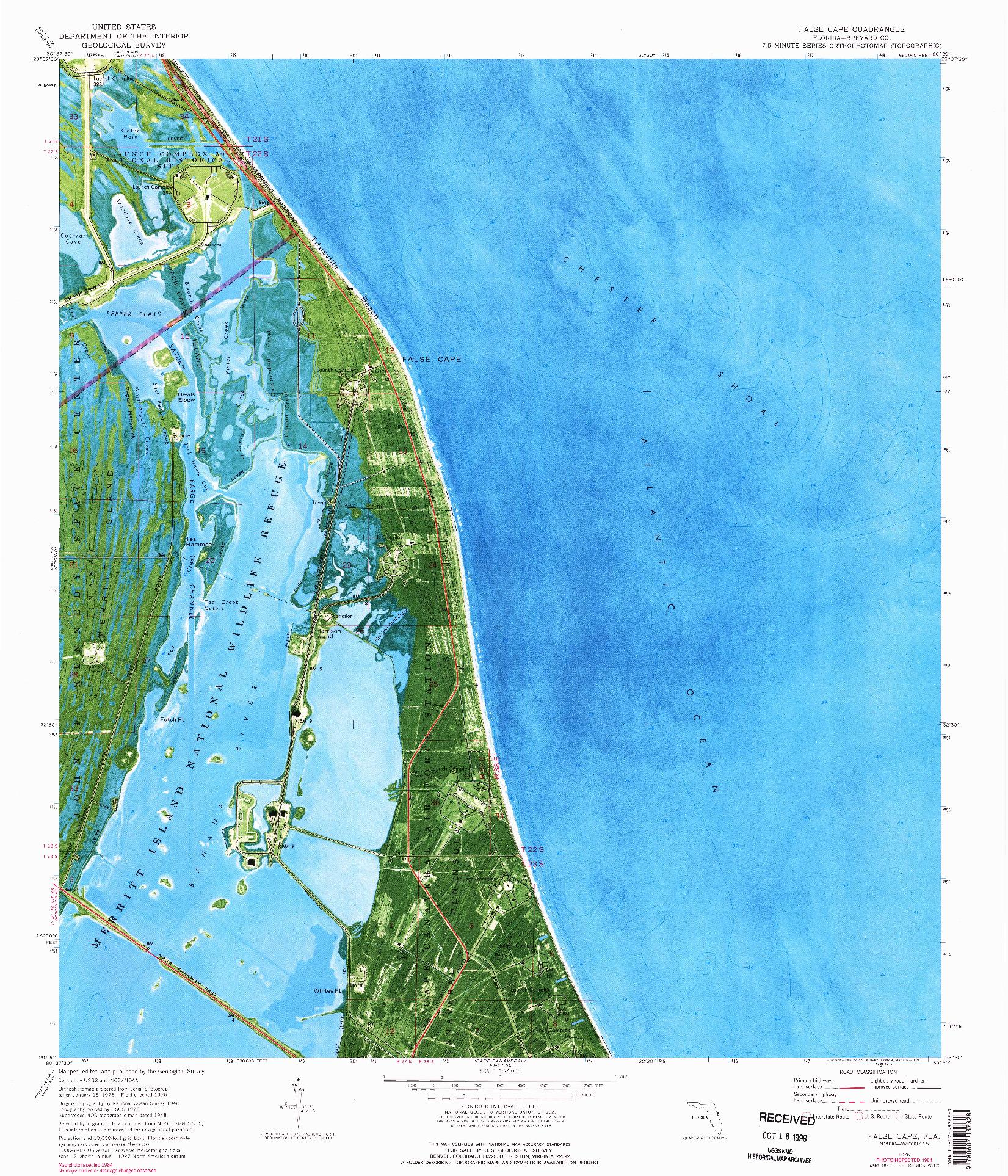 USGS 1:24000-SCALE QUADRANGLE FOR FALSE CAPE, FL 1976
