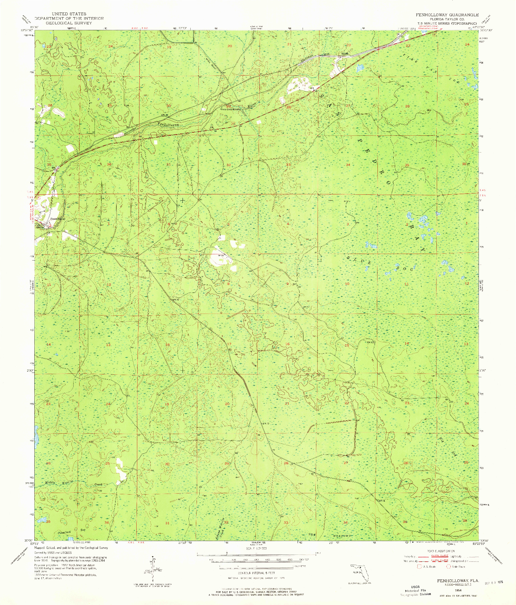 USGS 1:24000-SCALE QUADRANGLE FOR FENHOLLOWAY, FL 1954