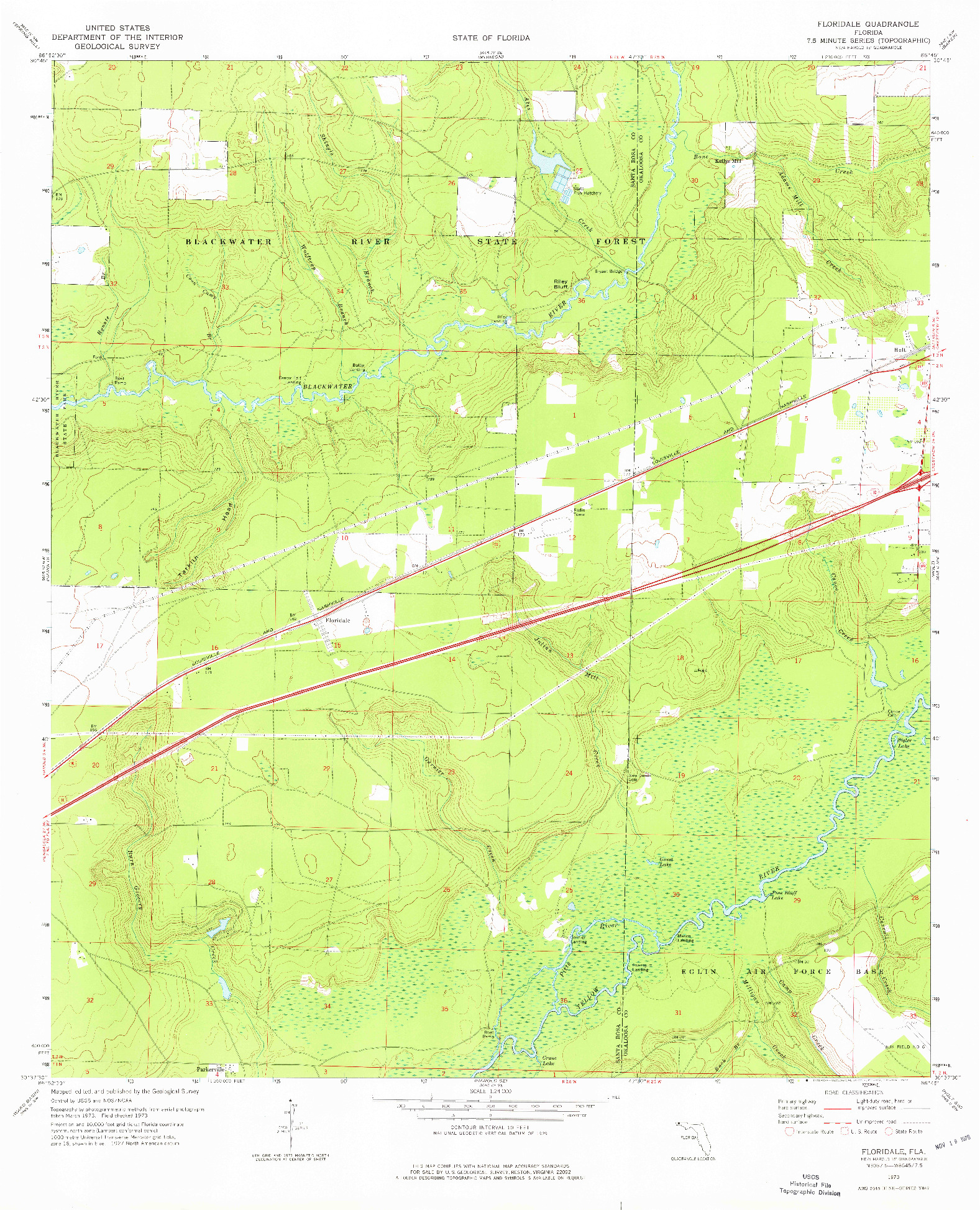 USGS 1:24000-SCALE QUADRANGLE FOR FLORIDALE, FL 1973