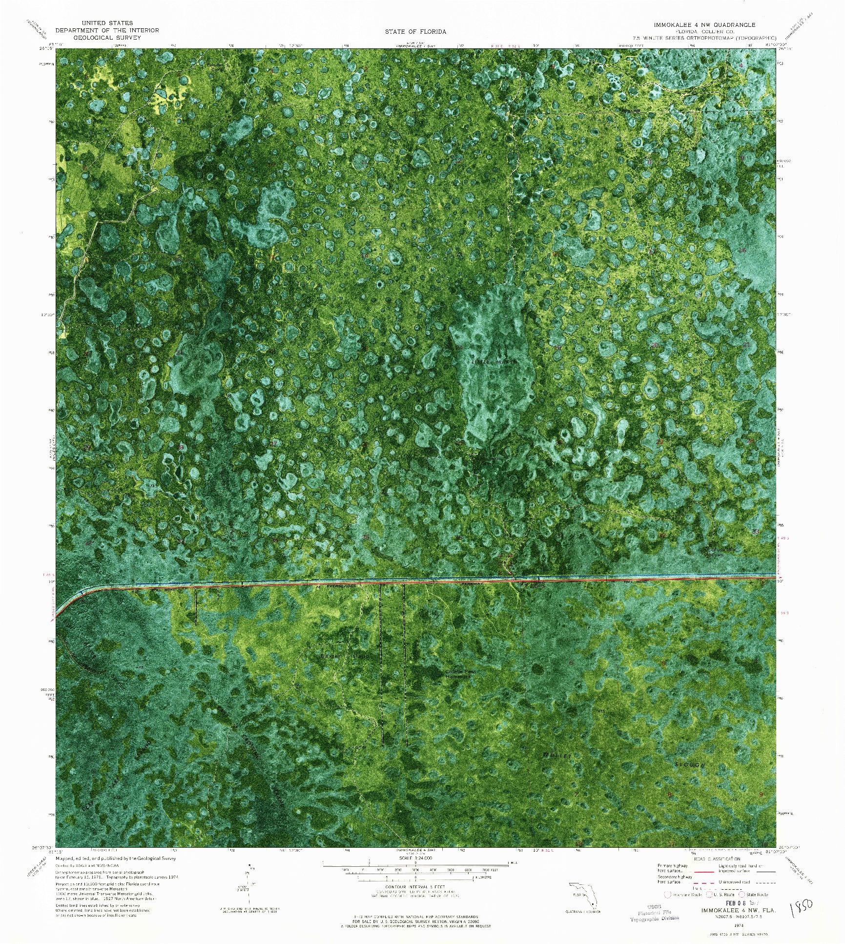 USGS 1:24000-SCALE QUADRANGLE FOR IMMOKALEE 4 NW, FL 1974