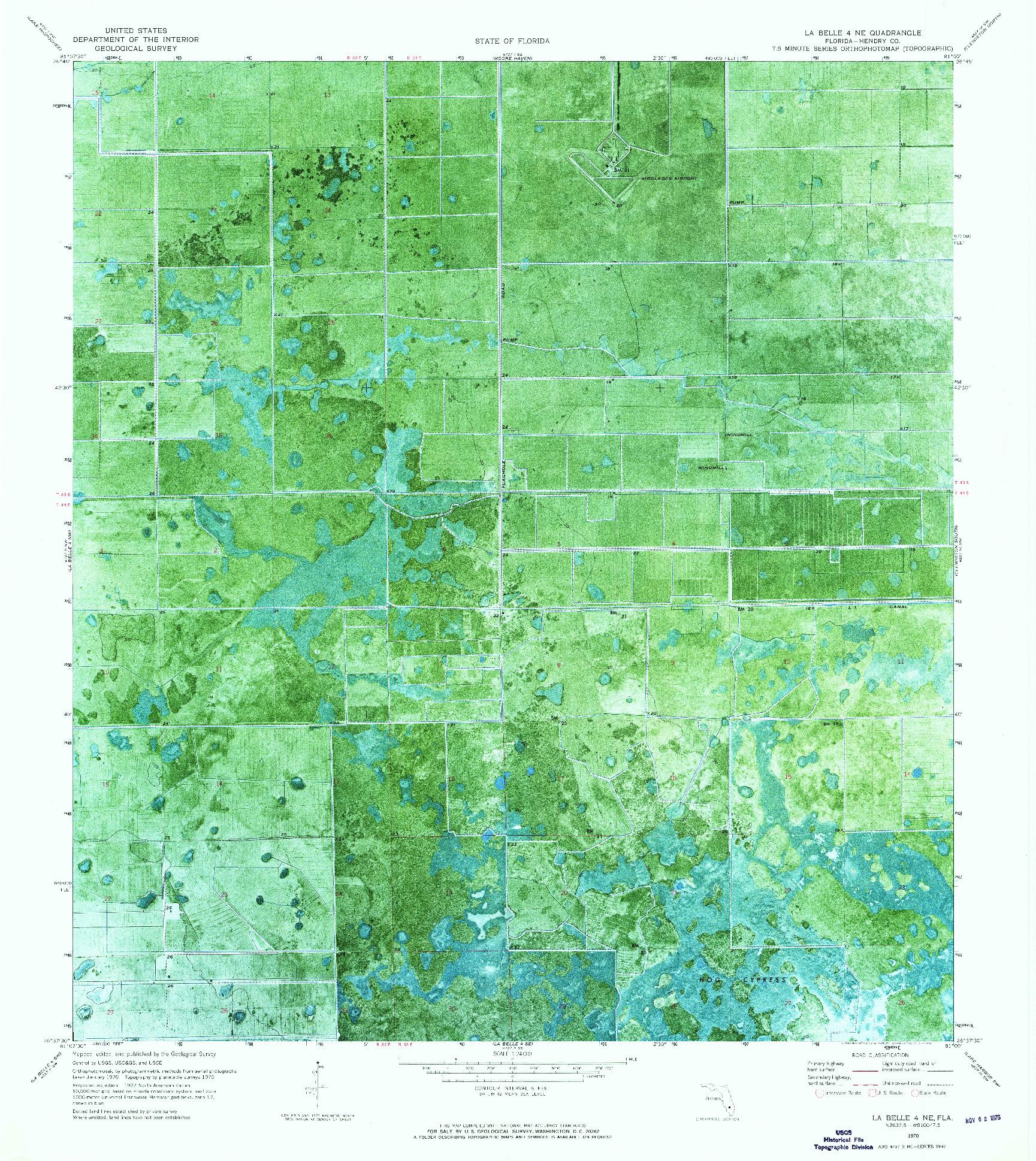 USGS 1:24000-SCALE QUADRANGLE FOR LA BELLE 4 NE, FL 1970
