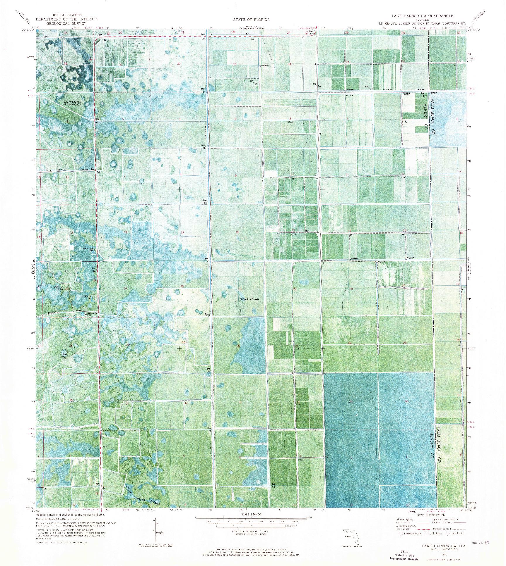 USGS 1:24000-SCALE QUADRANGLE FOR LAKE HARBOR SW, FL 1970
