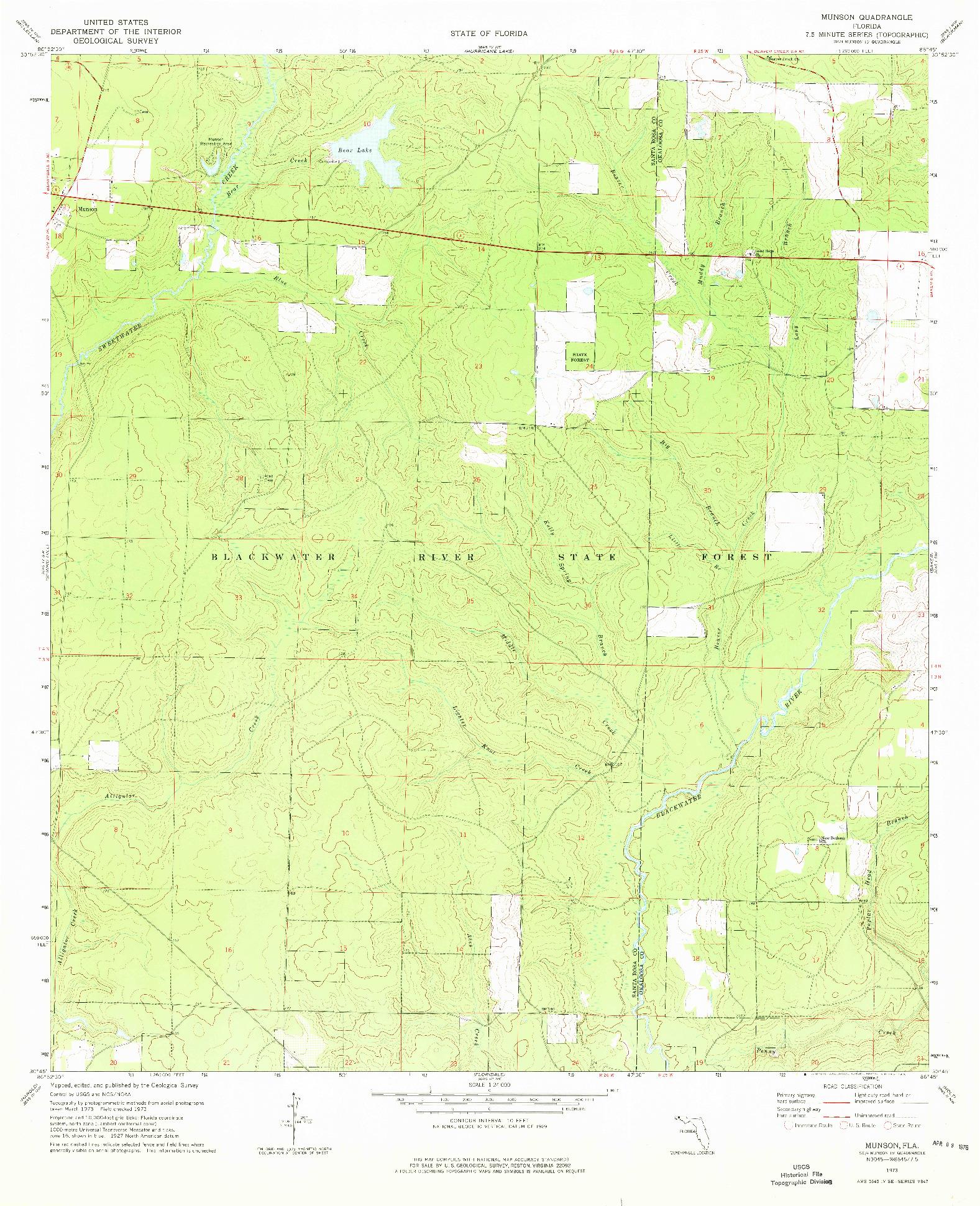 USGS 1:24000-SCALE QUADRANGLE FOR MUNSON, FL 1973