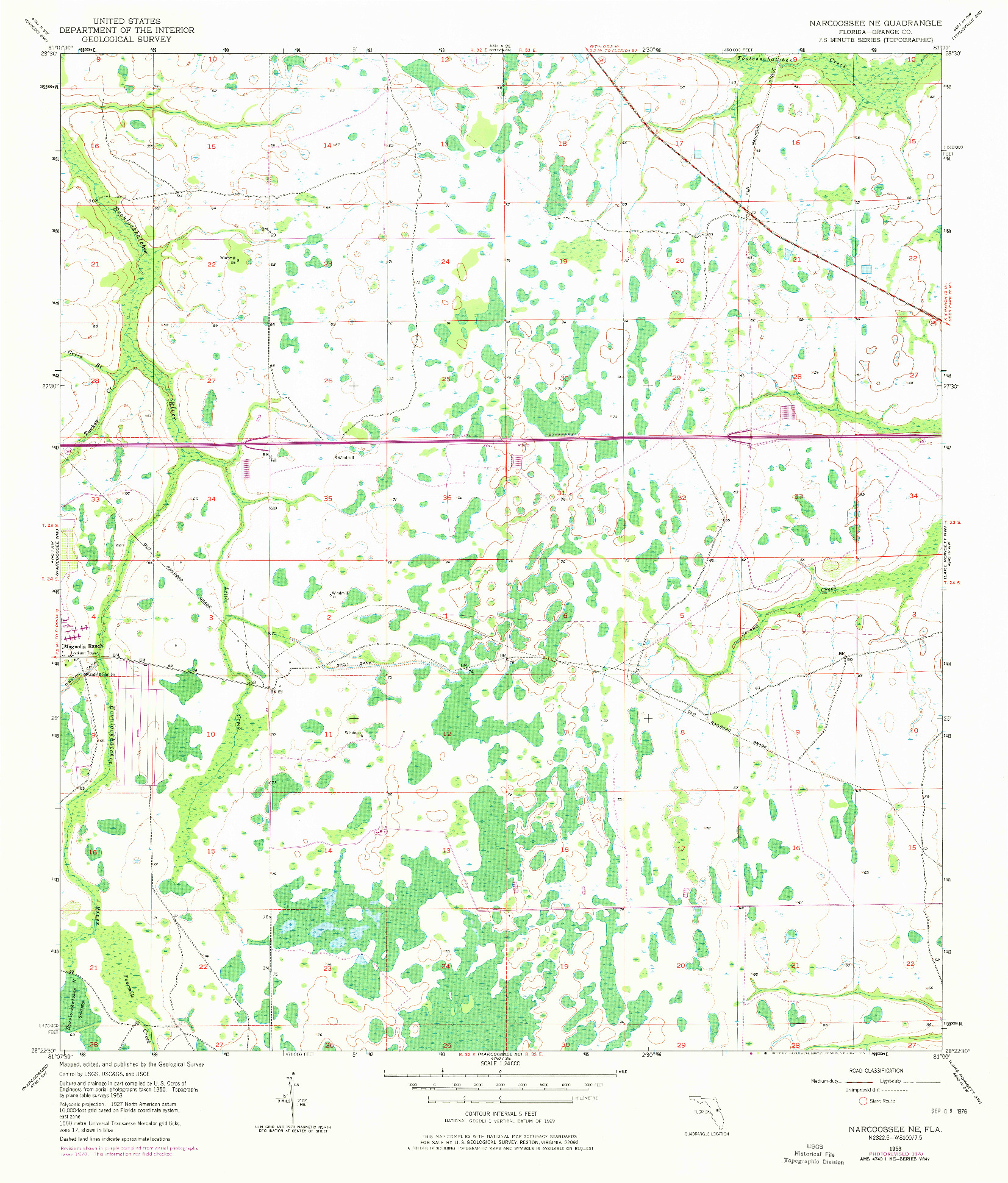 USGS 1:24000-SCALE QUADRANGLE FOR NARCOOSSEE NE, FL 1953