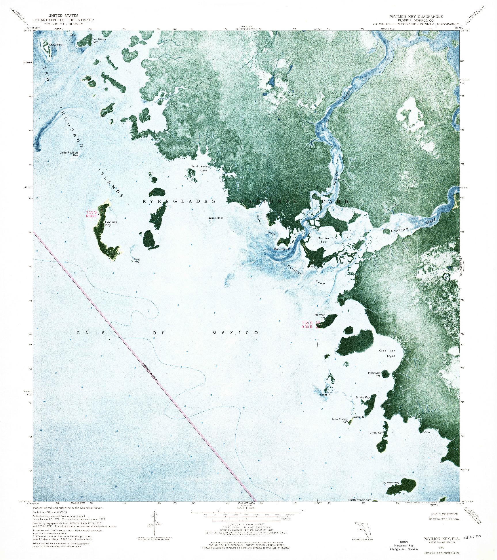 USGS 1:24000-SCALE QUADRANGLE FOR PAVILION KEY, FL 1973