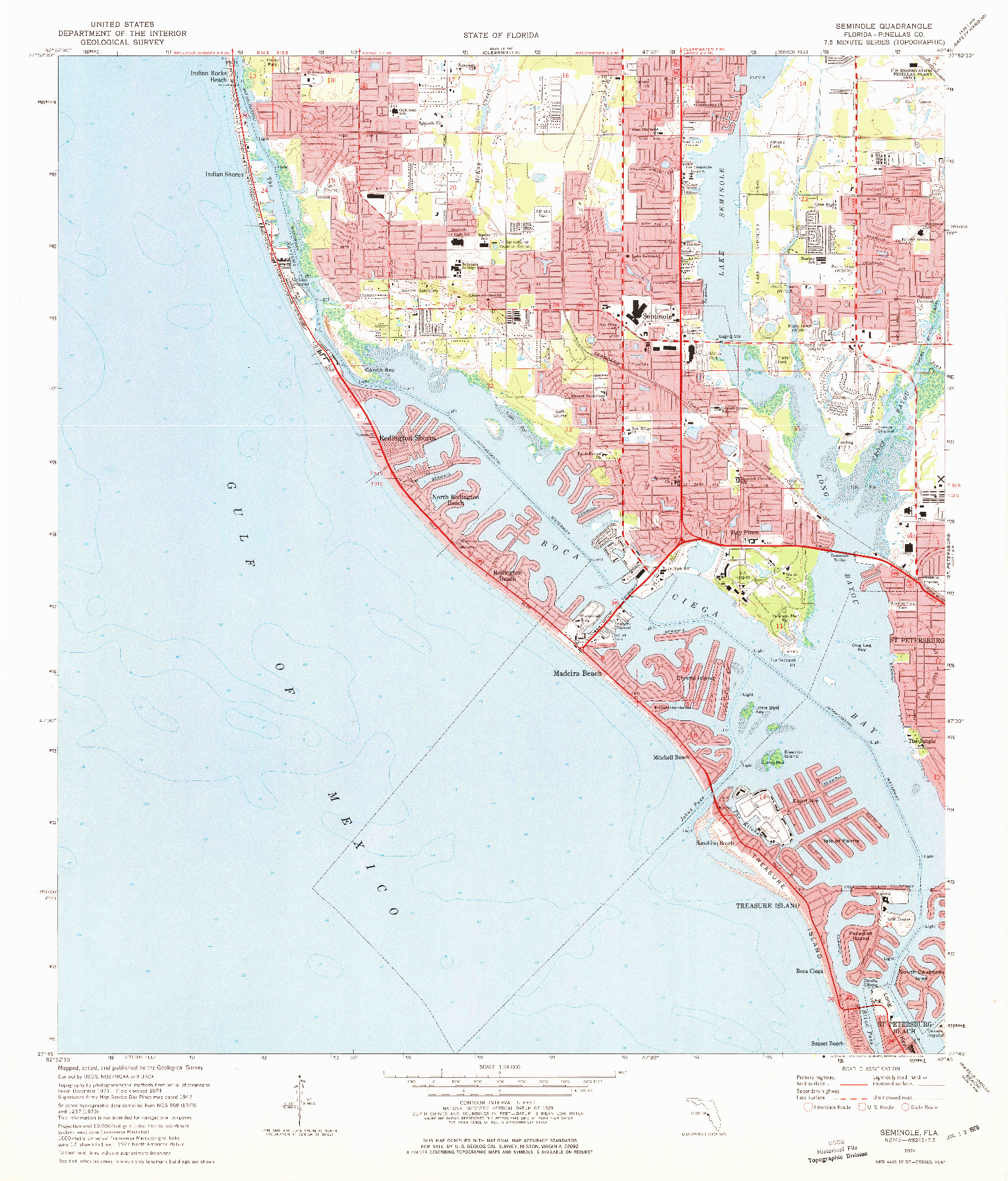 USGS 1:24000-SCALE QUADRANGLE FOR SEMINOLE, FL 1974