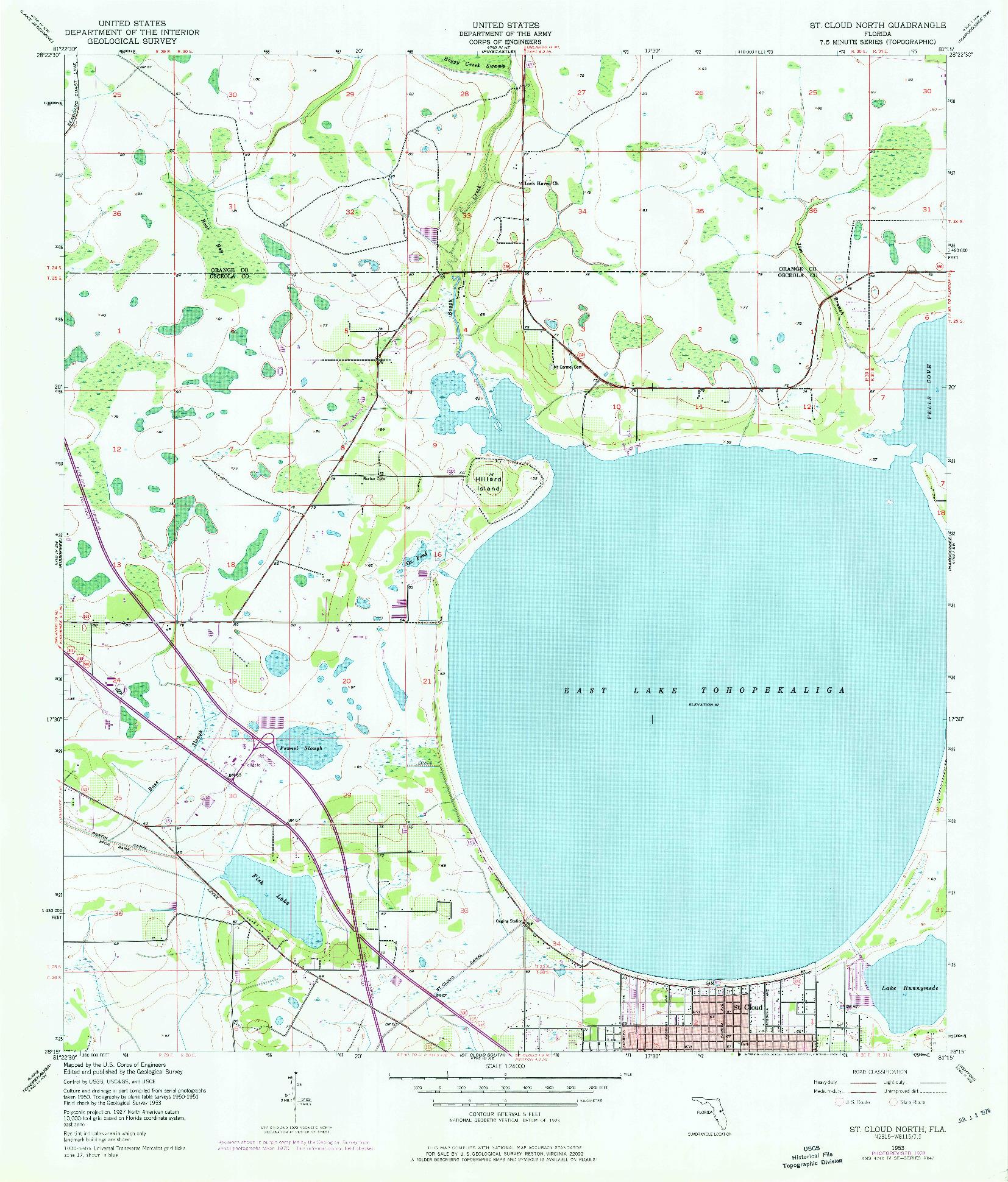 USGS 1:24000-SCALE QUADRANGLE FOR ST CLOUD NORTH, FL 1953