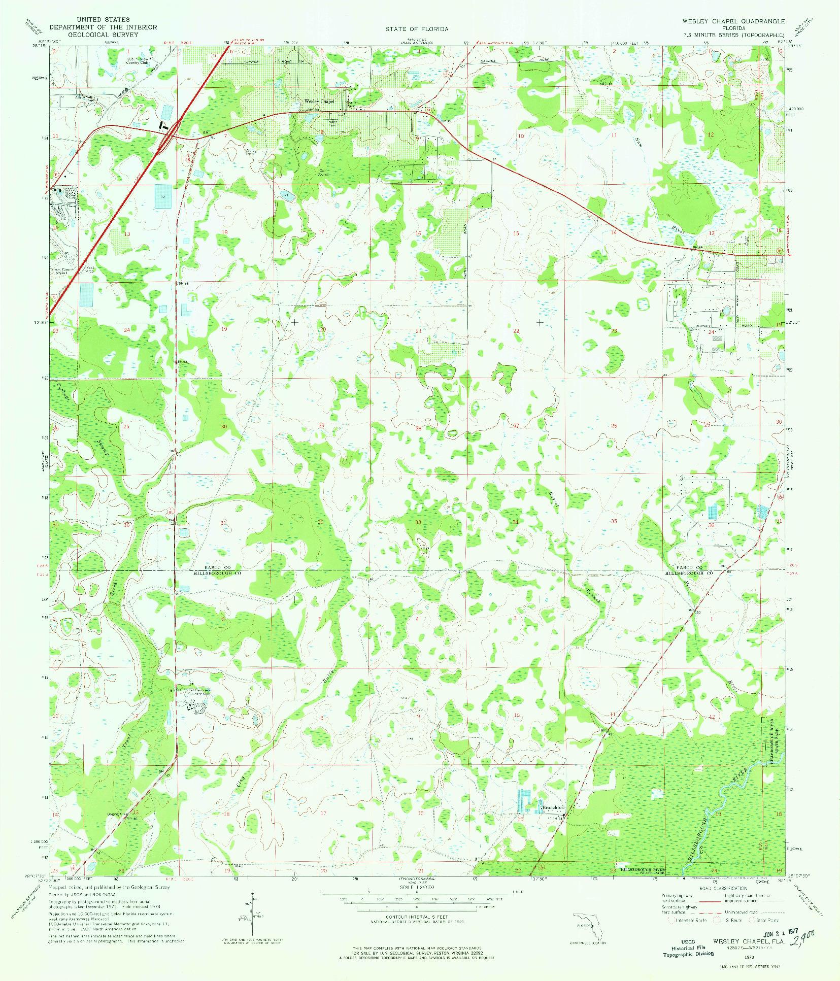 USGS 1:24000-SCALE QUADRANGLE FOR WESLEY CHAPEL, FL 1973