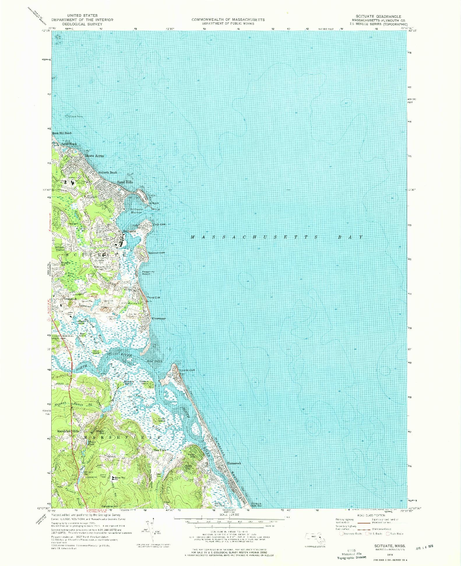 USGS 1:24000-SCALE QUADRANGLE FOR SCITUATE, MA 1974