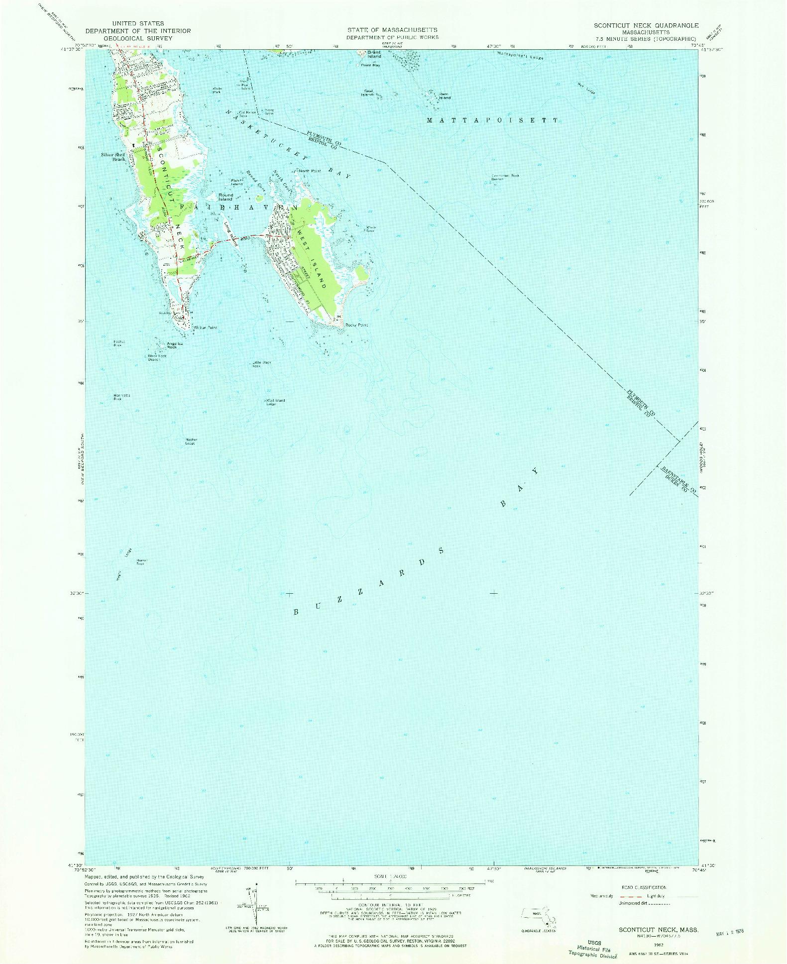 USGS 1:24000-SCALE QUADRANGLE FOR SCONTICUT NECK, MA 1962