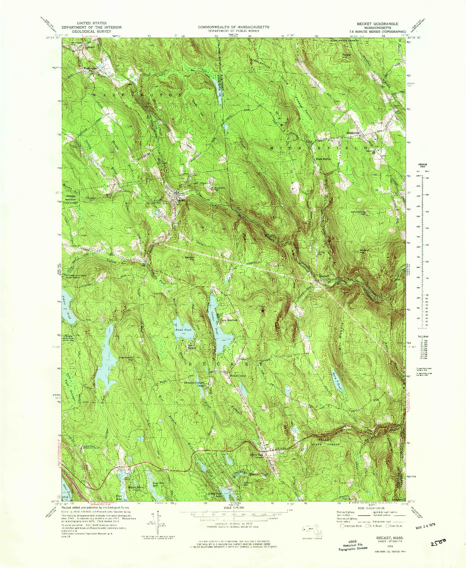 USGS 1:25000-SCALE QUADRANGLE FOR BECKET, MA 1973