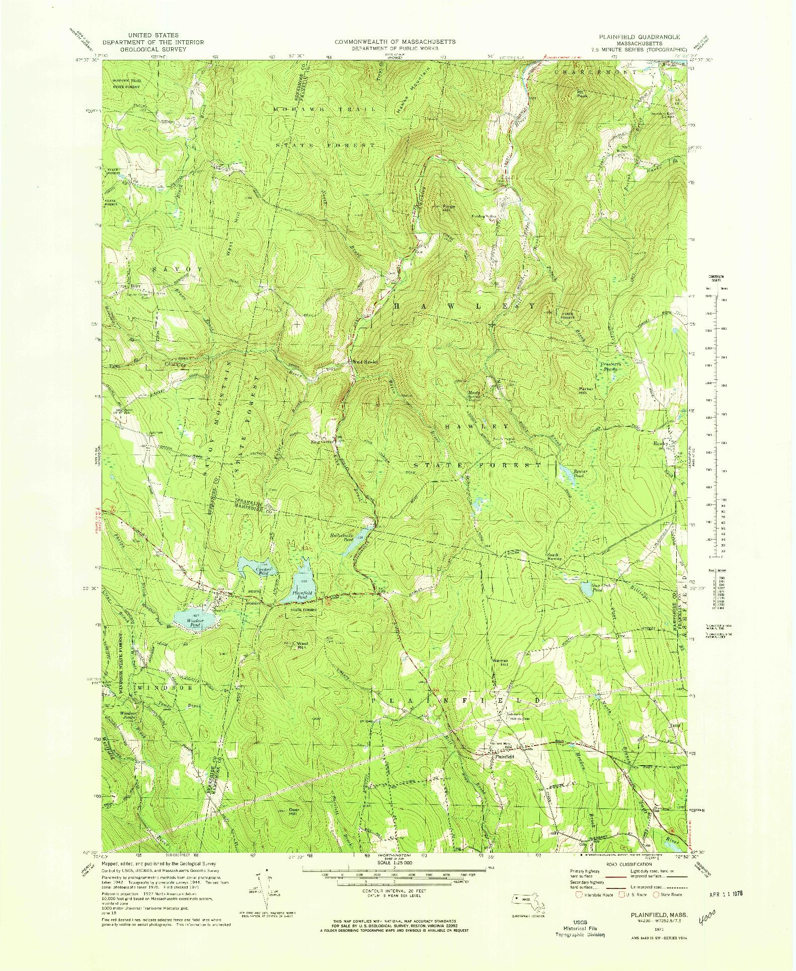USGS 1:25000-SCALE QUADRANGLE FOR PLAINFIELD, MA 1971