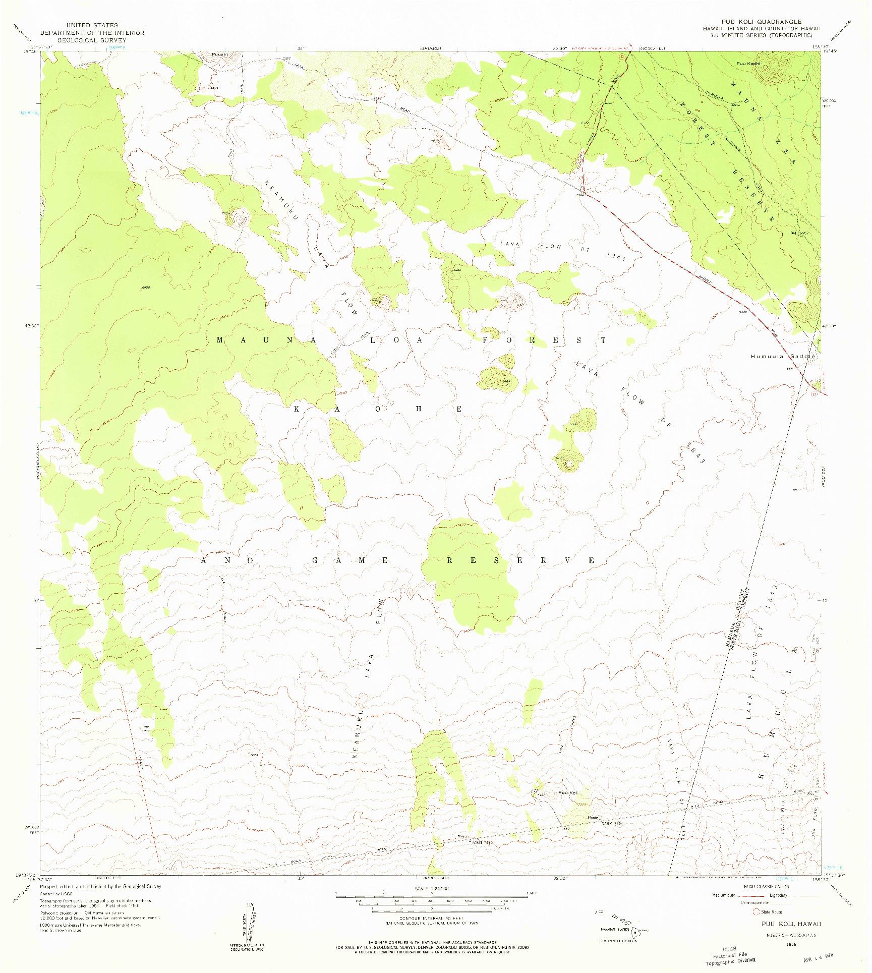 USGS 1:24000-SCALE QUADRANGLE FOR PUU KOLI, HI 1956
