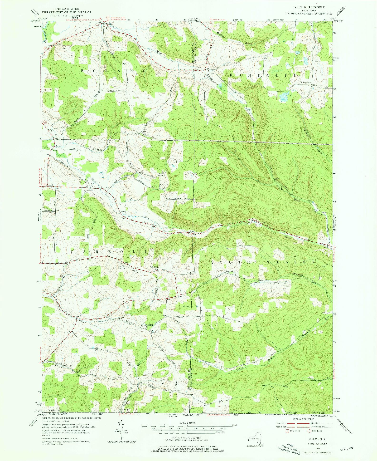 USGS 1:24000-SCALE QUADRANGLE FOR IVORY, NY 1954