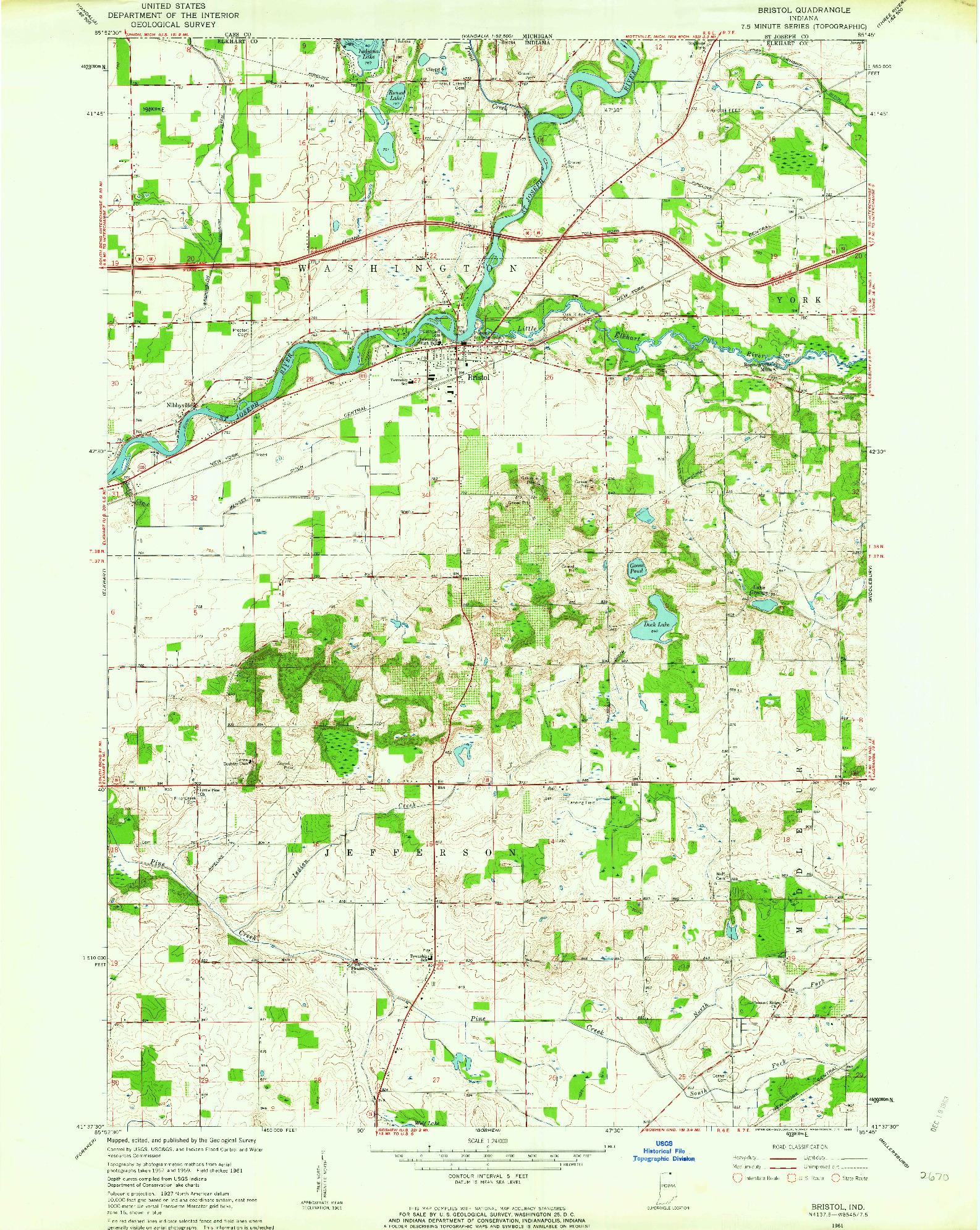 USGS 1:24000-SCALE QUADRANGLE FOR BRISTOL, IN 1961