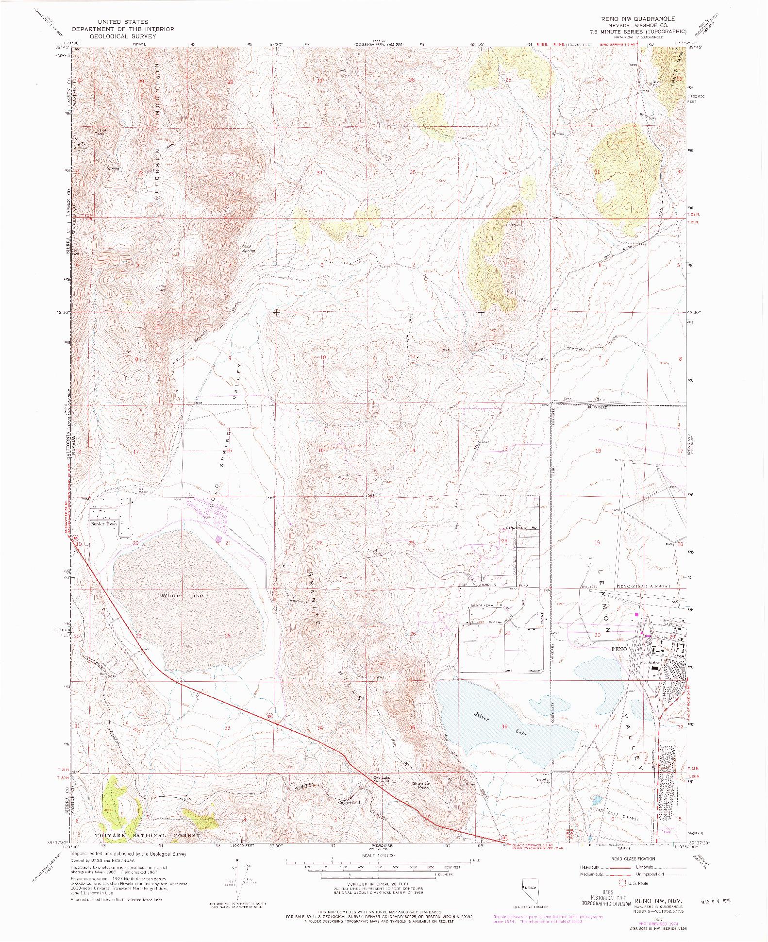 USGS 1:24000-SCALE QUADRANGLE FOR RENO NW, NV 1967
