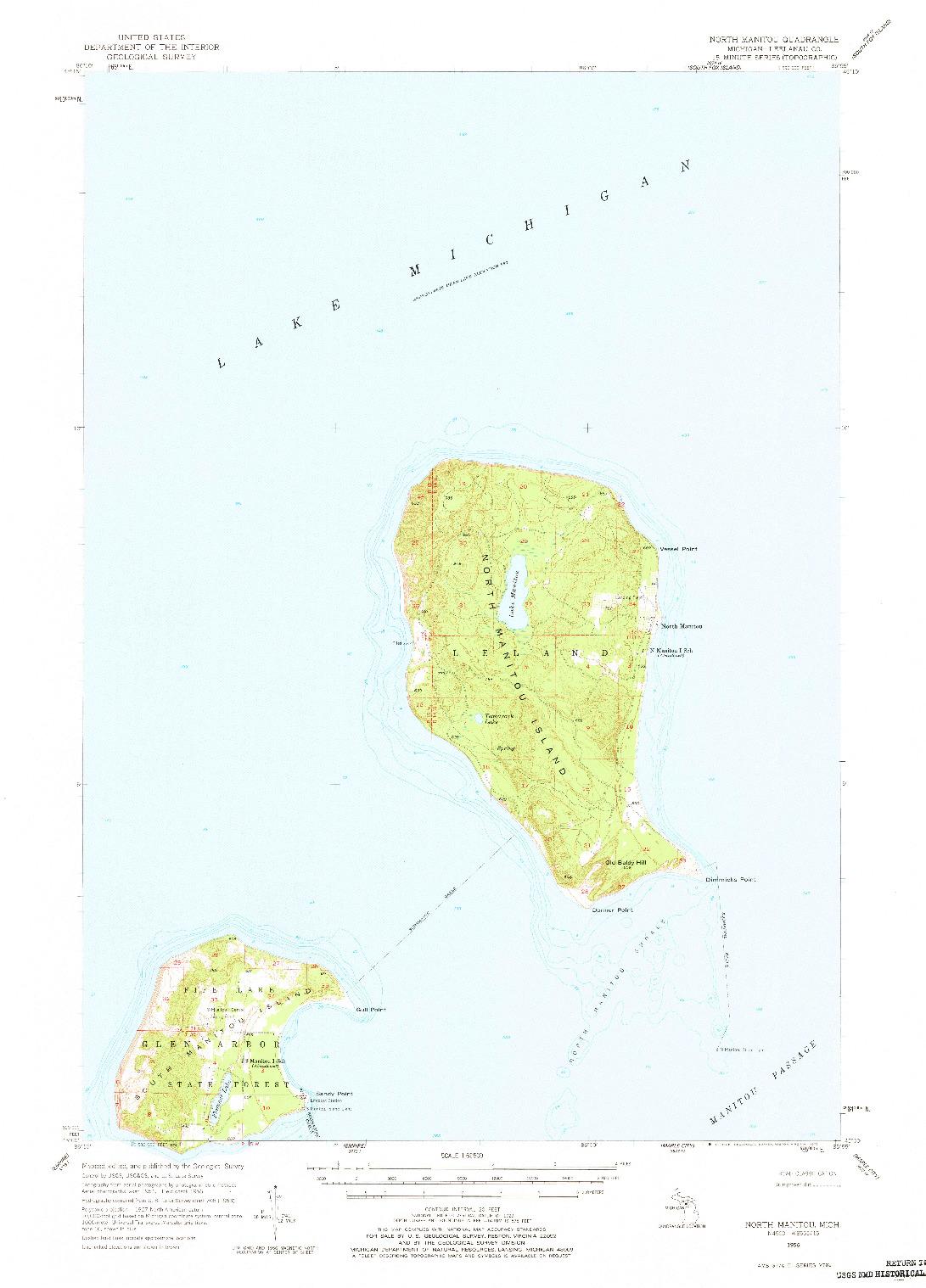 USGS 1:62500-SCALE QUADRANGLE FOR NORTH MANITOU, MI 1956